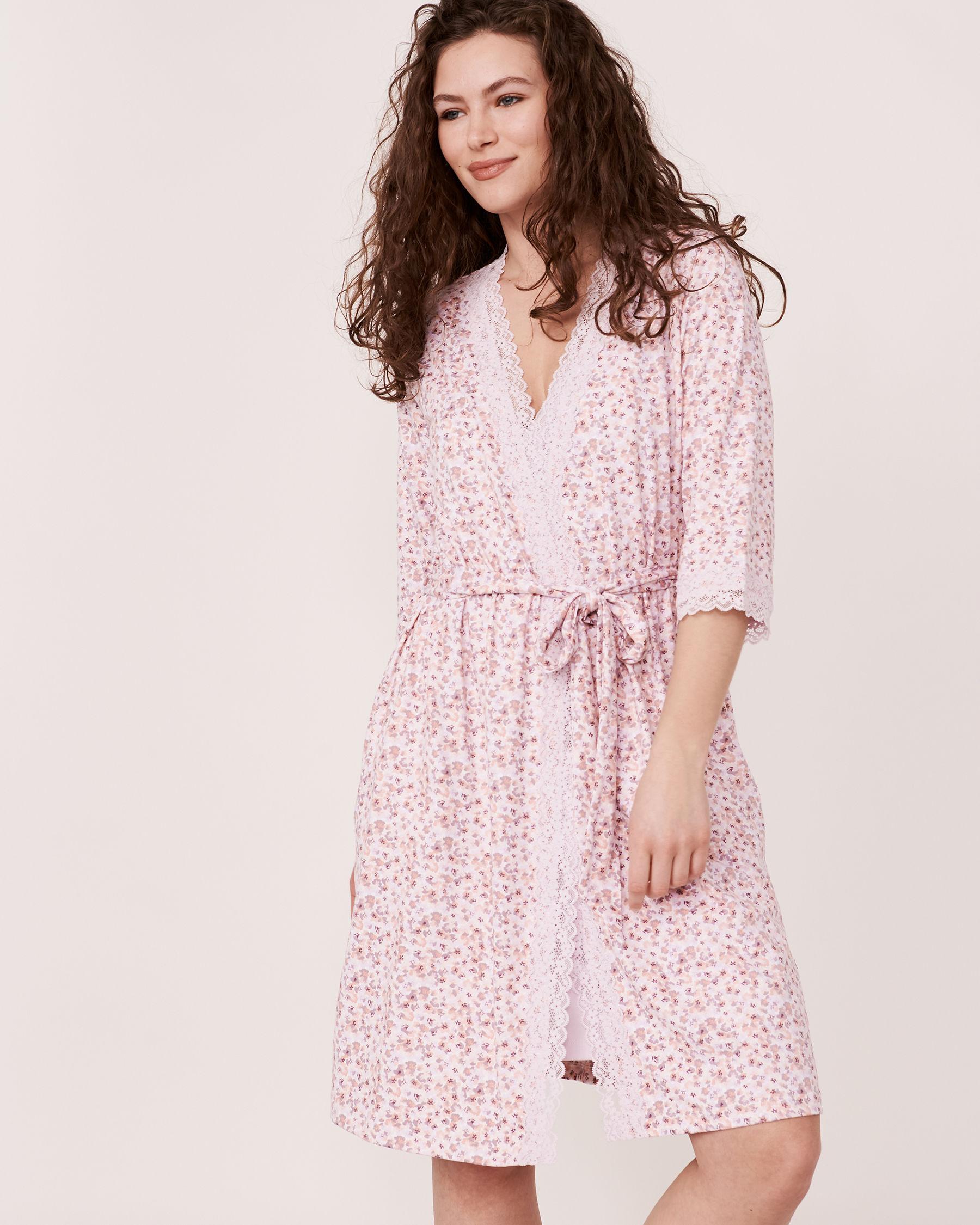 LA VIE EN ROSE Lace Trim Kimono Ditsy floral 40600012 - View3