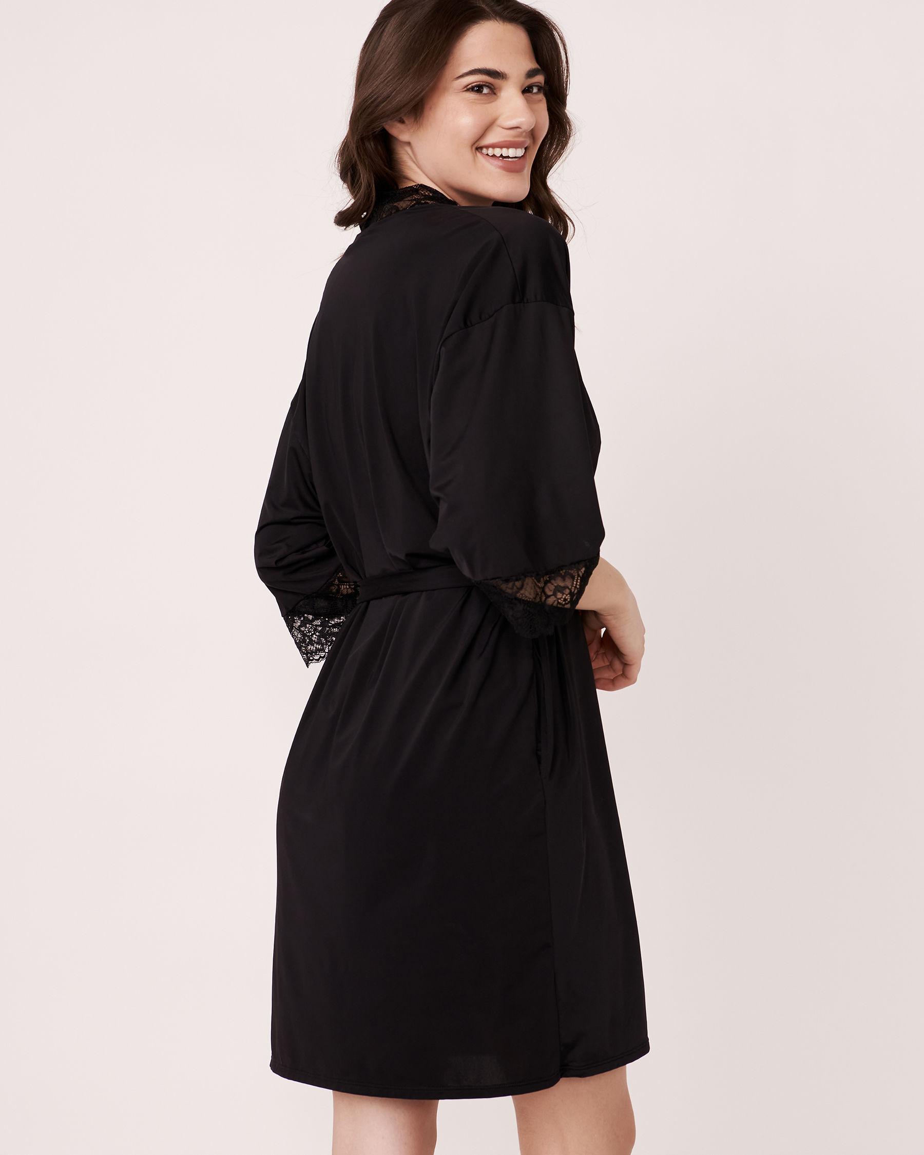 LA VIE EN ROSE Kimono garniture de dentelle Noir 60600002 - Voir2