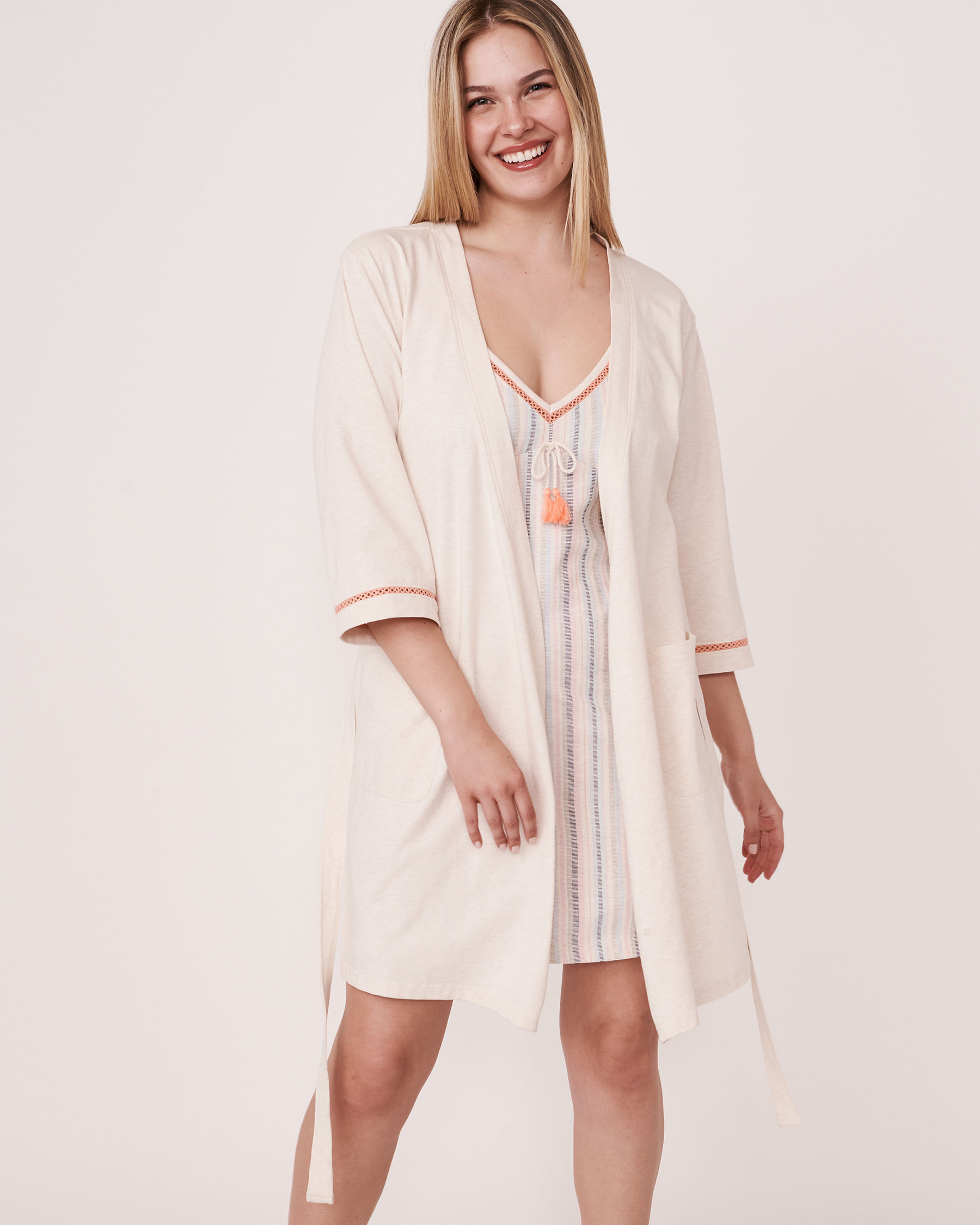 LA VIE EN ROSE Organic Cotton Kimono Grey mix 40600009 - View3