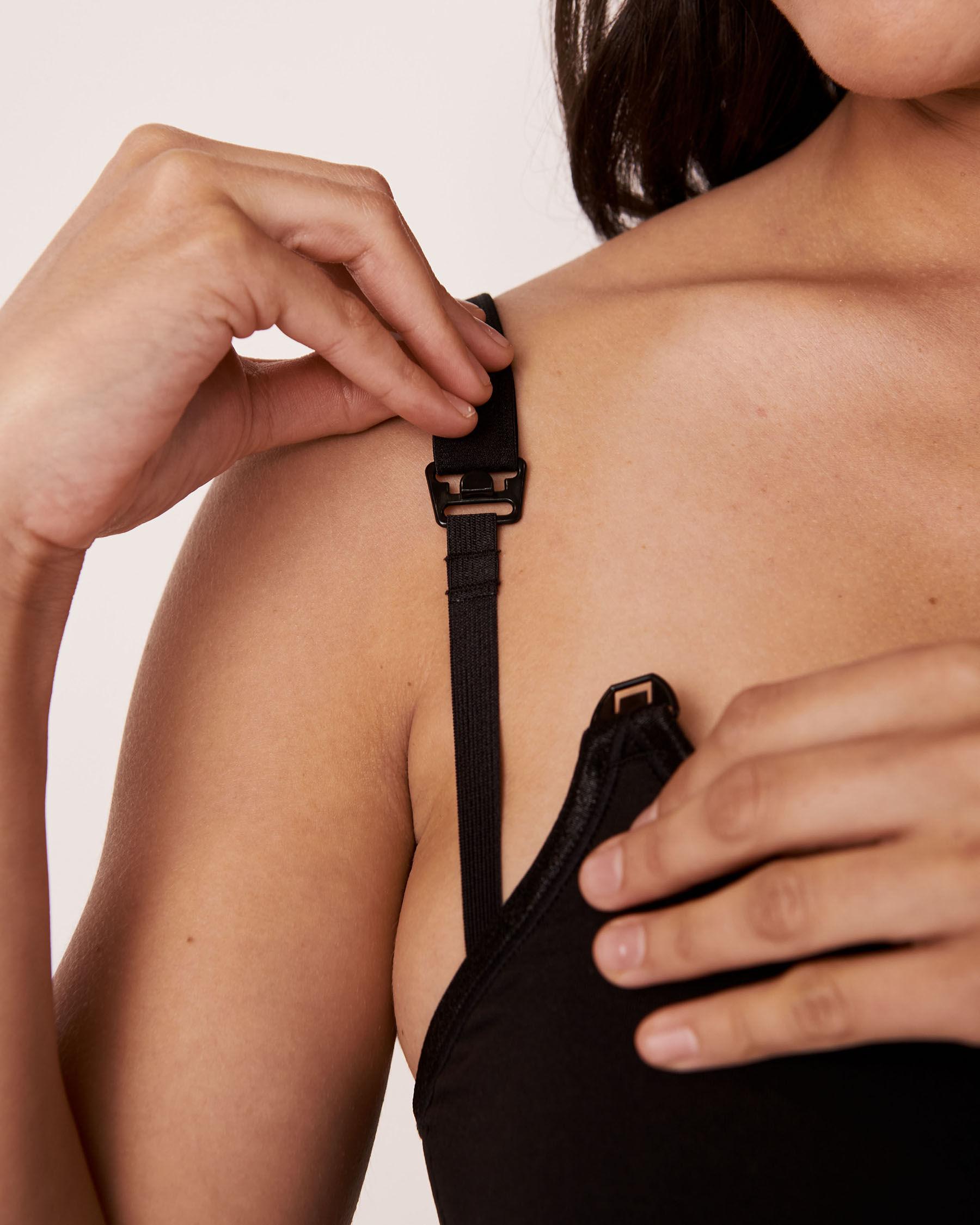 LA VIE EN ROSE Seamless Nursing Bralette Black 10100024 - View2
