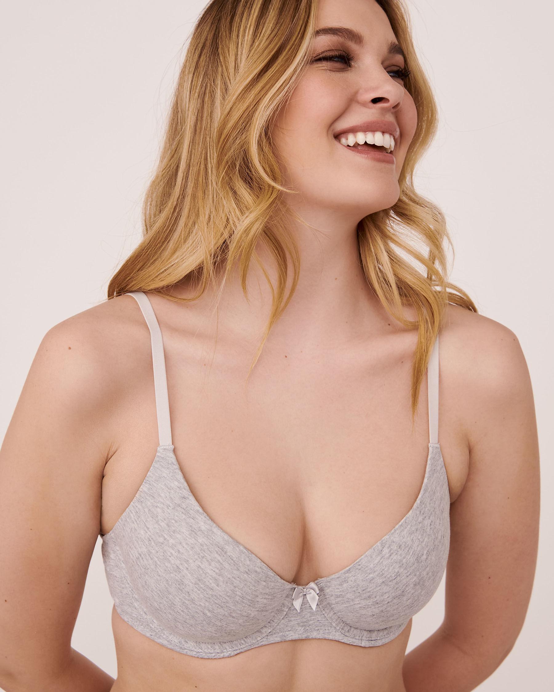 LA VIE EN ROSE Lightly Lined Cotton Bra Grey 558-113-1-00 - View1