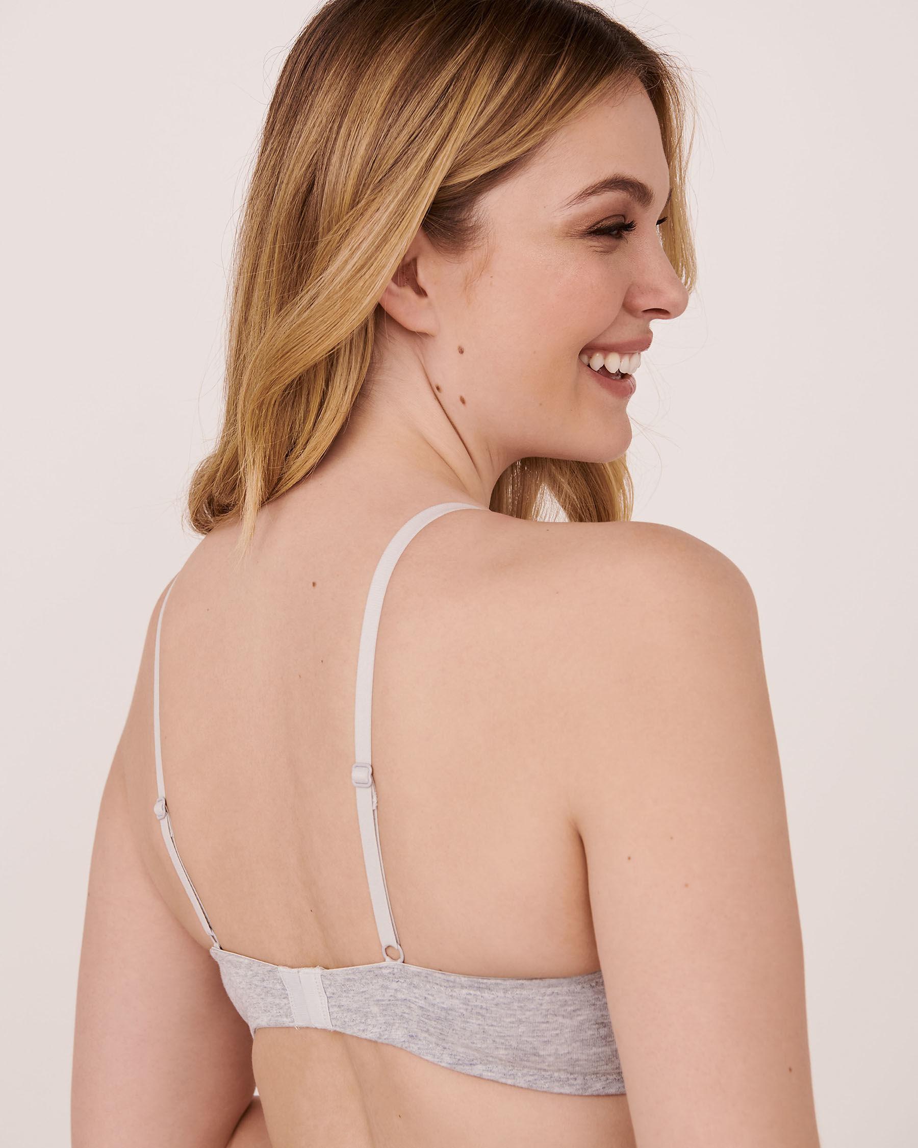 LA VIE EN ROSE Lightly Lined Cotton Bra Grey 558-113-1-00 - View2