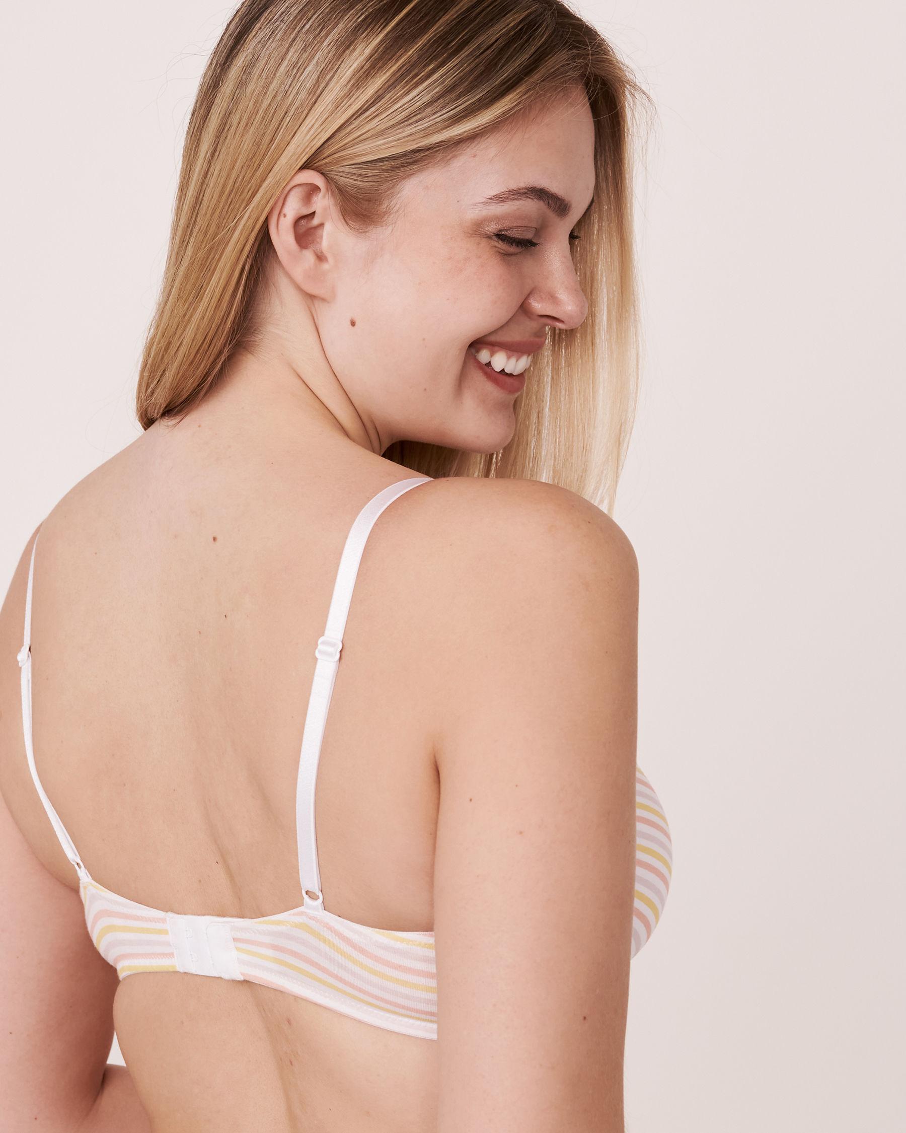 LA VIE EN ROSE Lightly Lined Demi Cotton Bra Multi-colour stripes 10200012 - View2