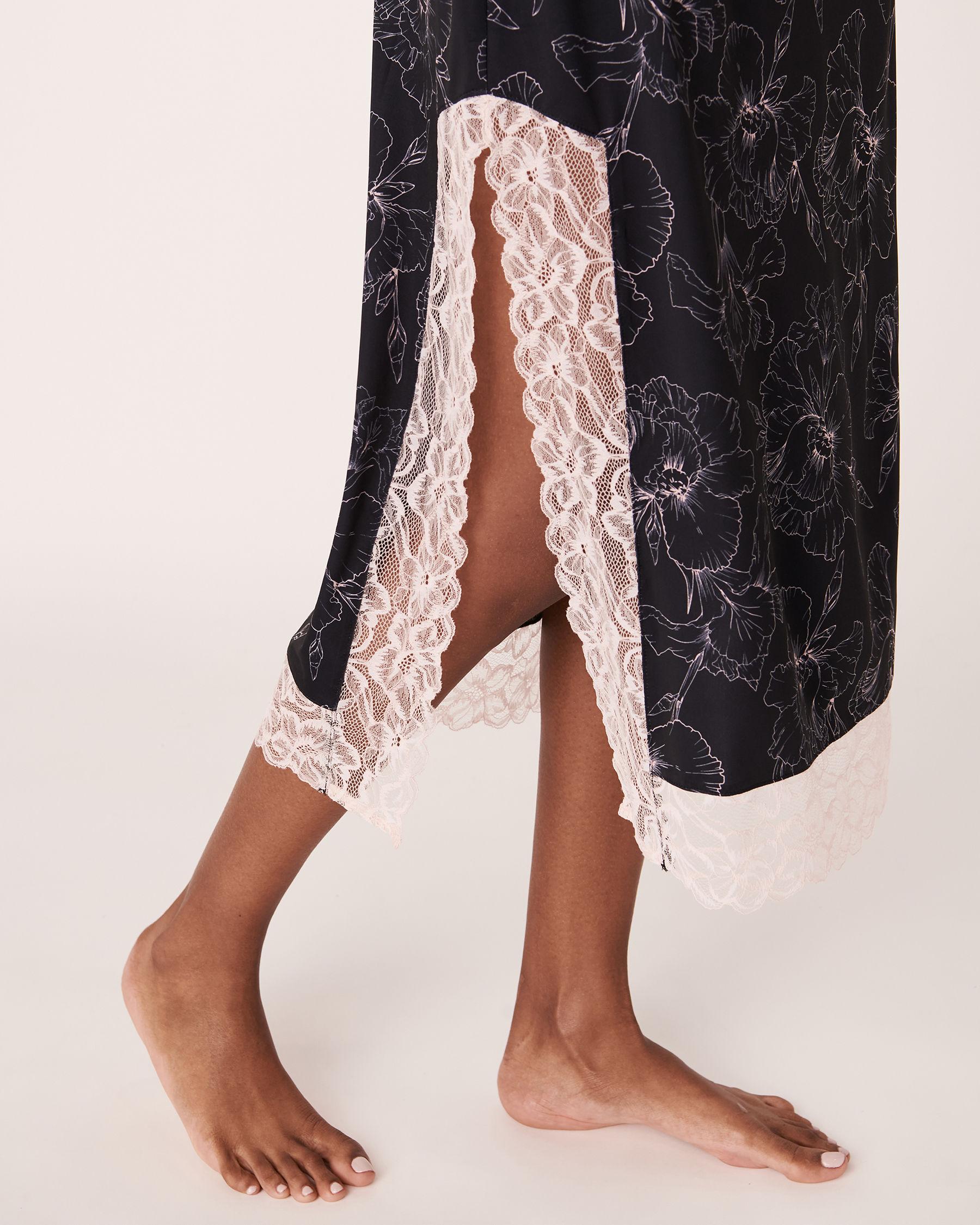 LA VIE EN ROSE Recycled Fibers Lace Trim Mid-length Nightie Black flower 40500059 - View4