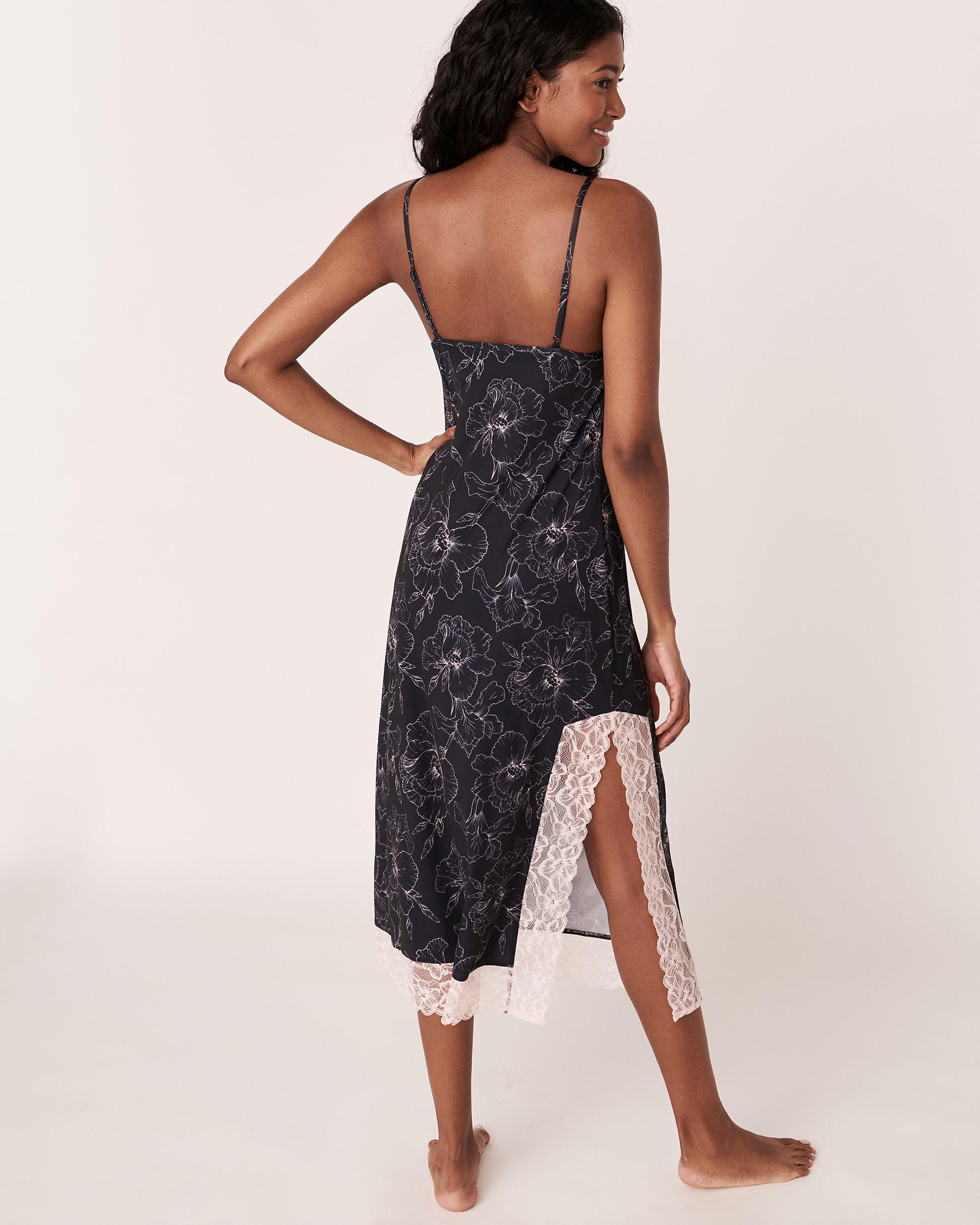 LA VIE EN ROSE Recycled Fibers Lace Trim Mid-length Nightie Black flower 40500059 - View6
