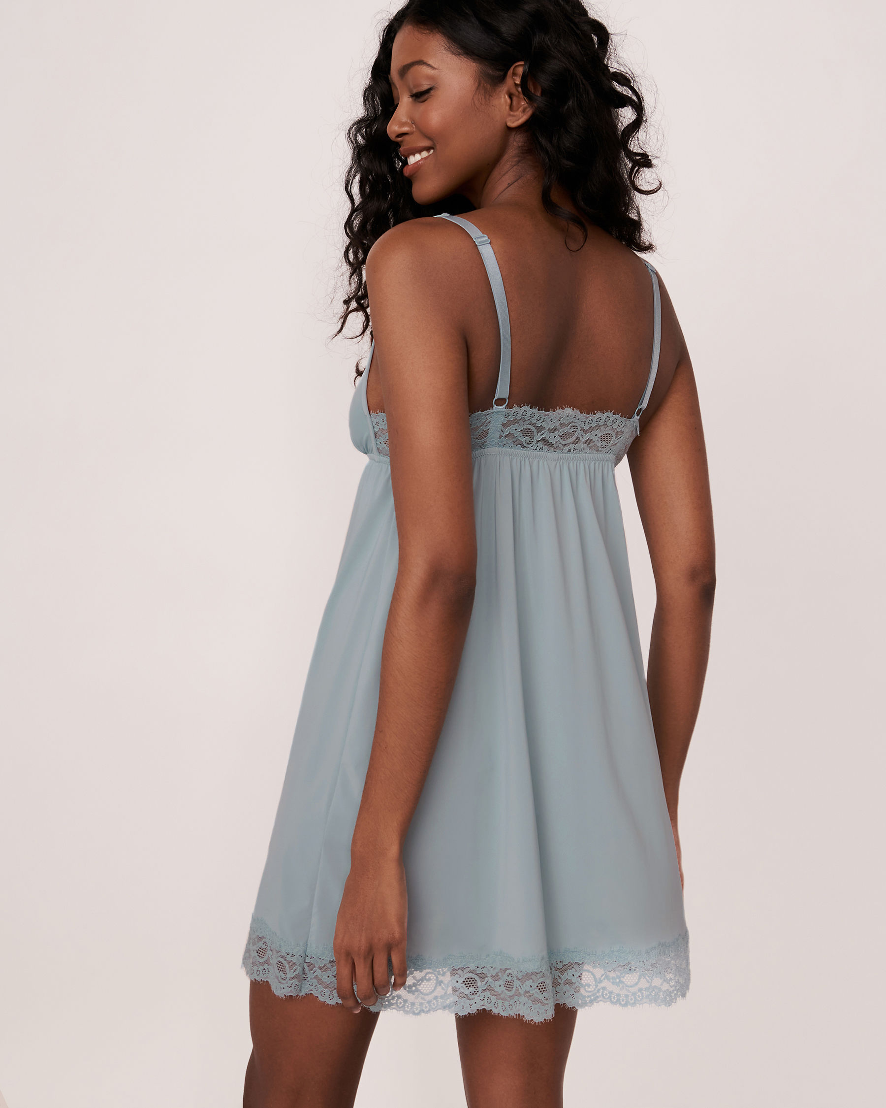 LA VIE EN ROSE Lace Trim Nightie Blue grey 60500004 - View2