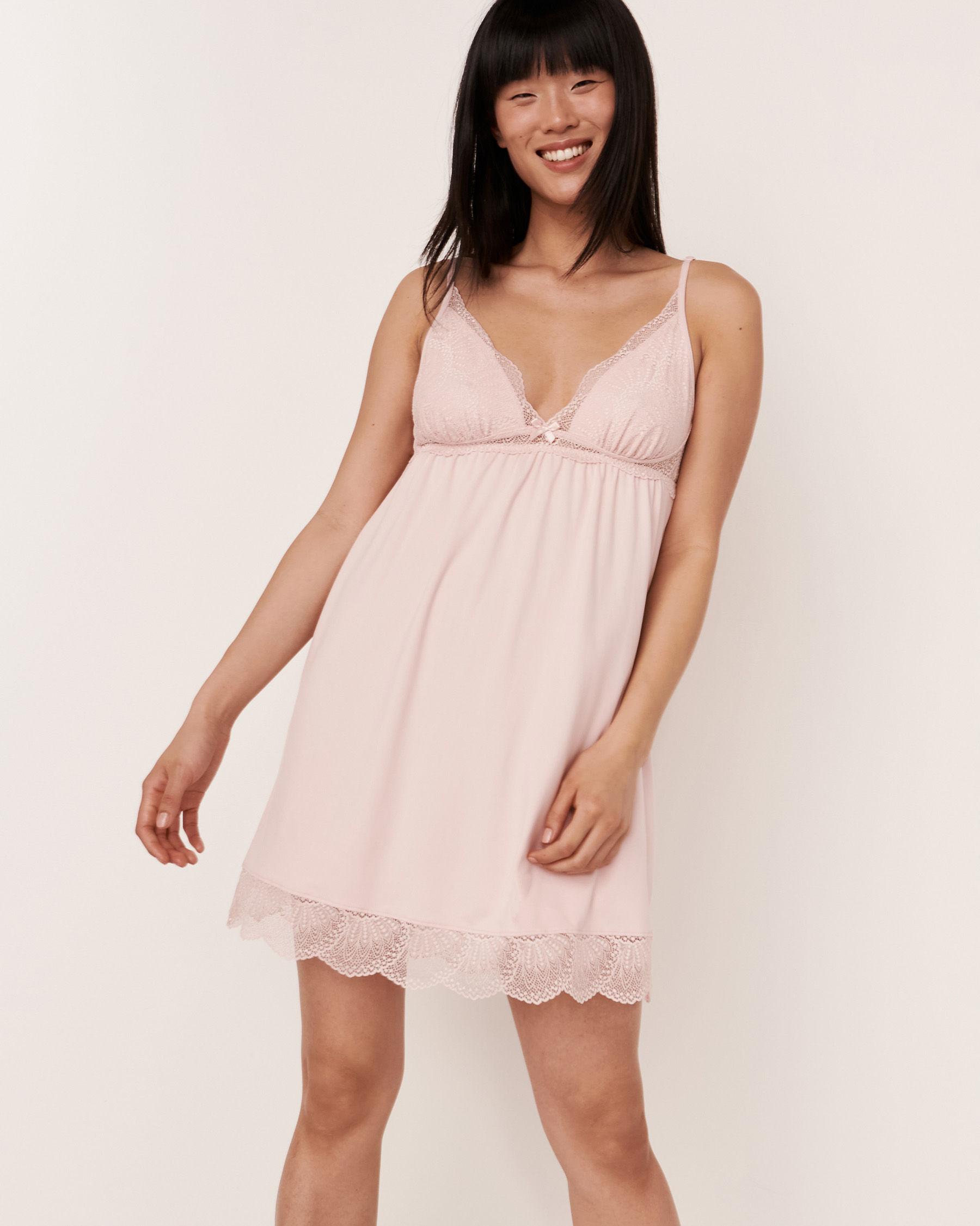 LA VIE EN ROSE Lace Trim Thin Straps Nightie Light pink 40500060 - View1