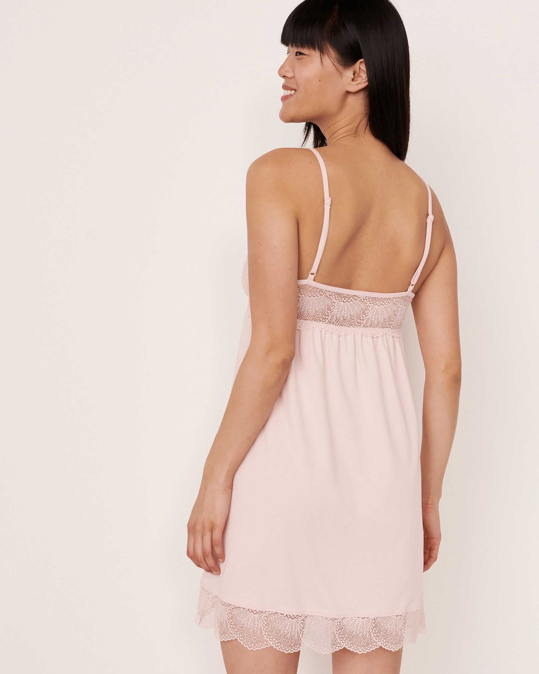 LA VIE EN ROSE Lace Trim Thin Straps Nightie Light pink 40500060 - View2