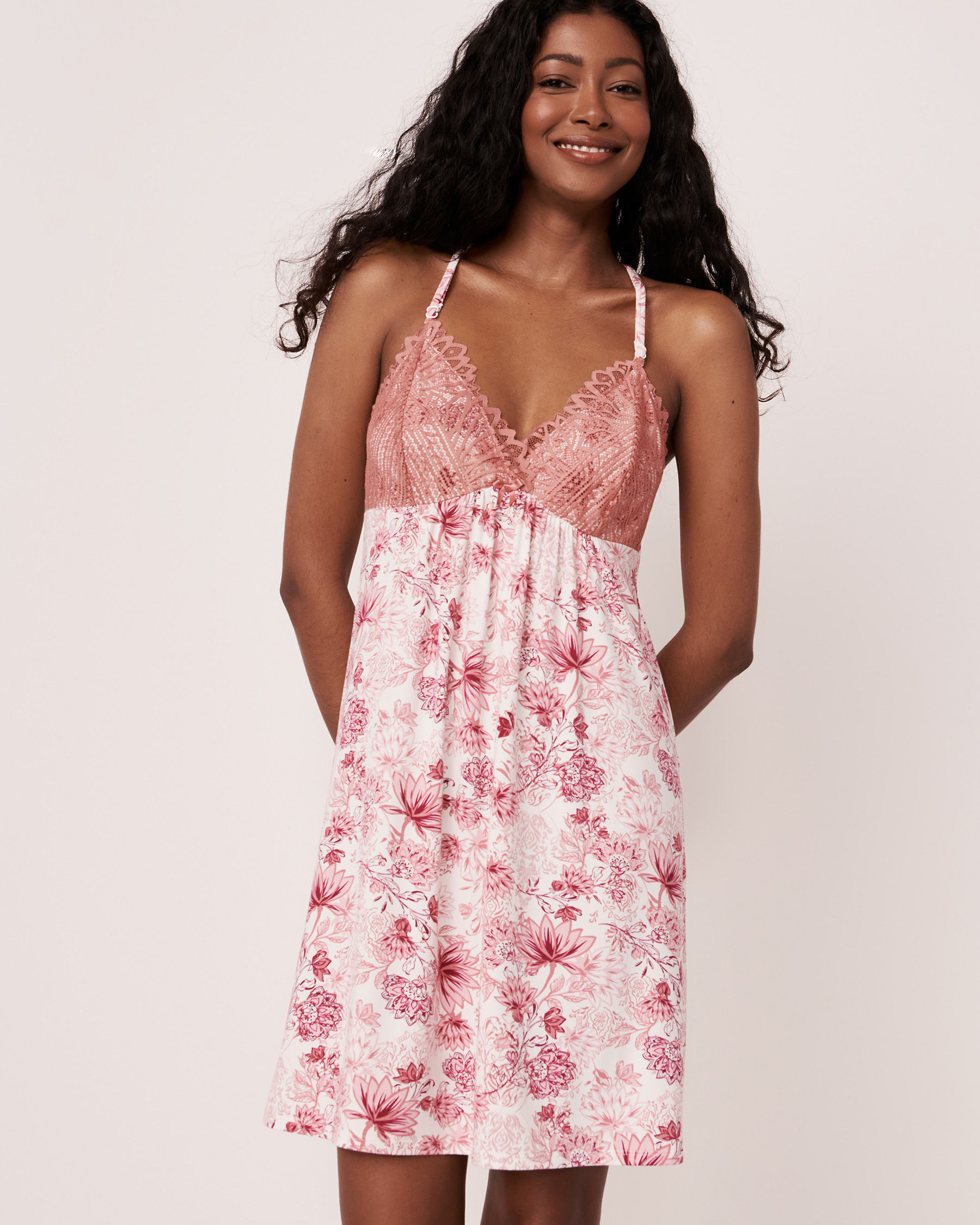 LA VIE EN ROSE Lace Trim Modal Nightie Pink flowers 40500064 - View1