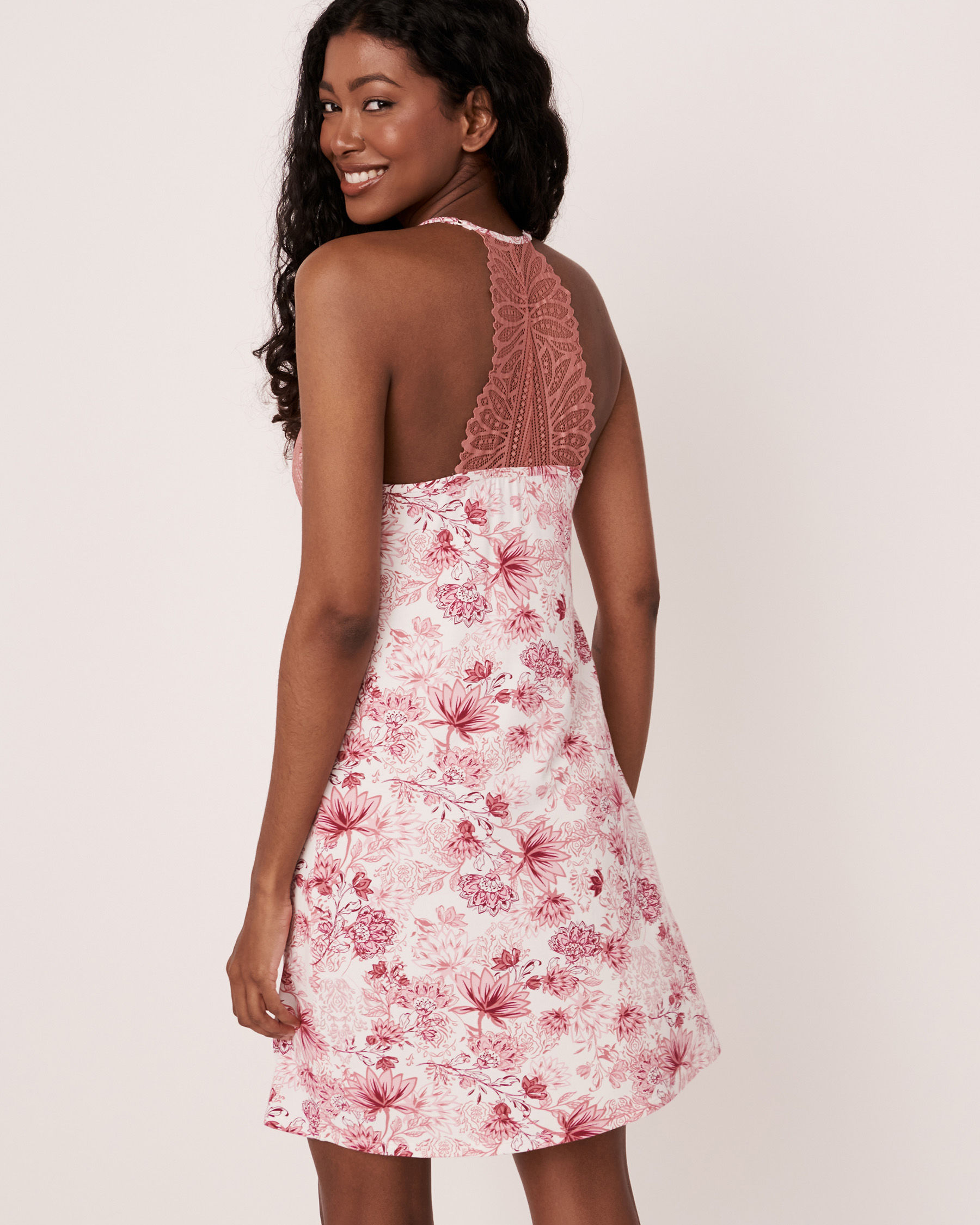 LA VIE EN ROSE Lace Trim Modal Nightie Pink flowers 40500064 - View2