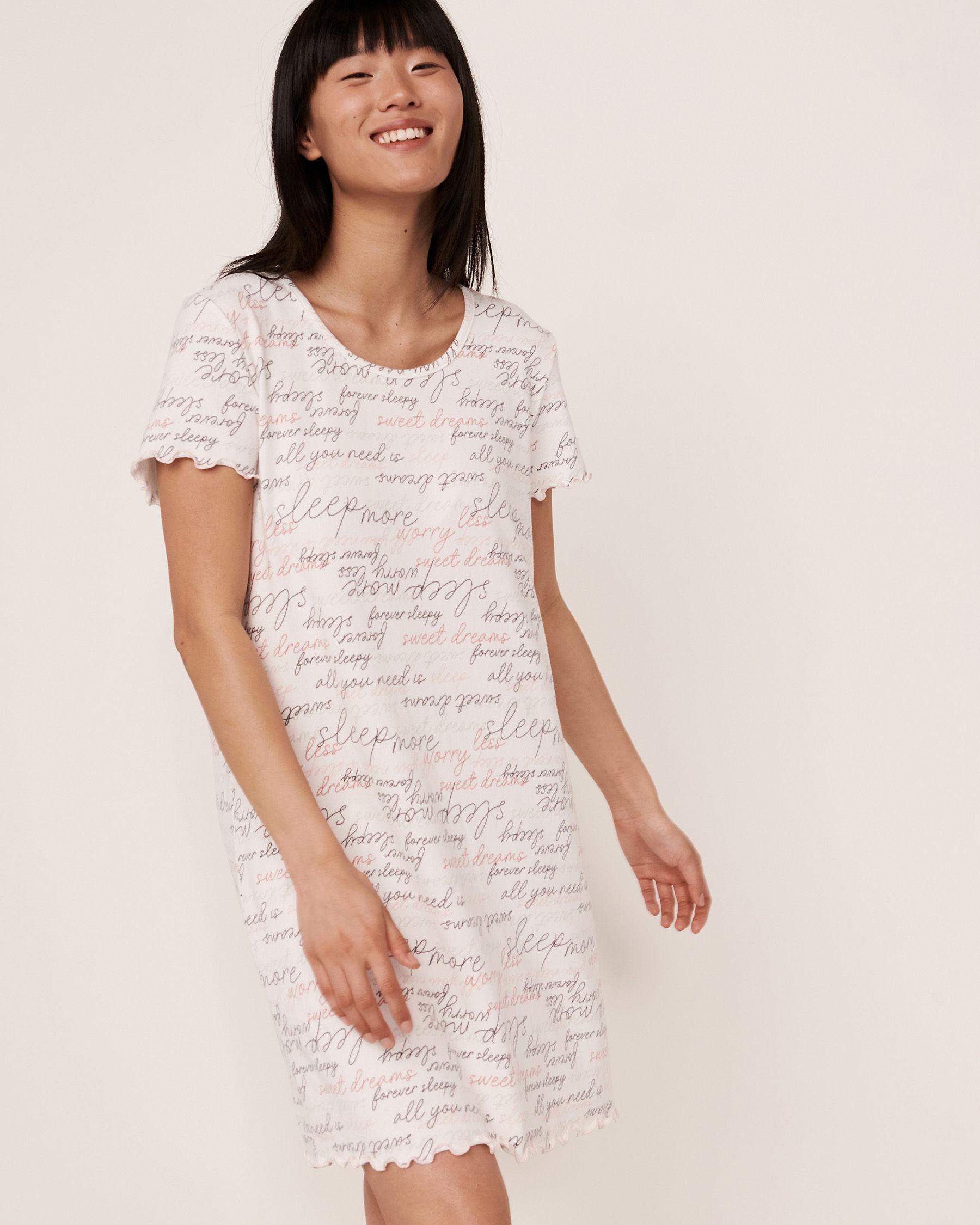 LA VIE EN ROSE Recycled Fibers Ruffle Sleepshirt Words 40500069 - View1