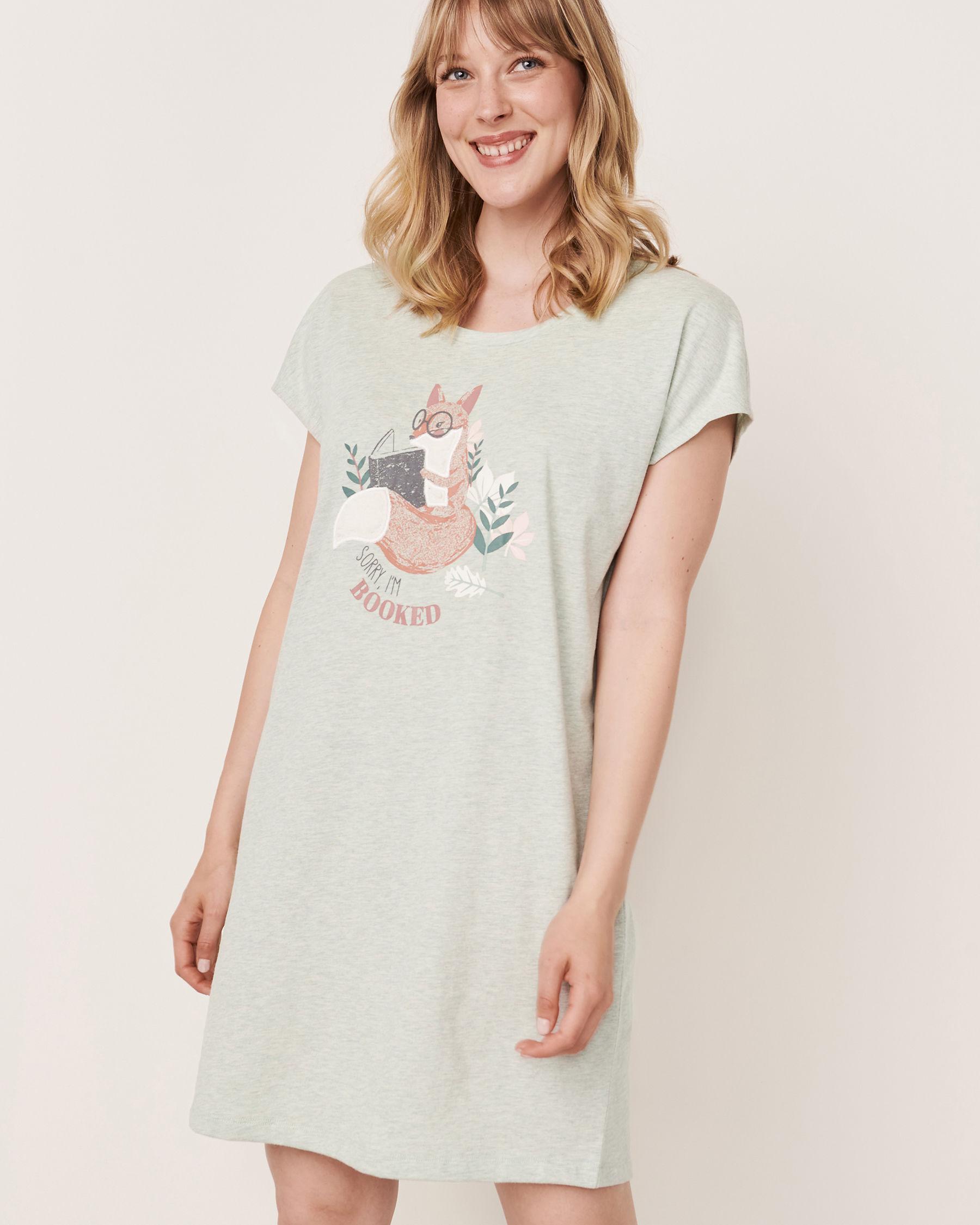 LA VIE EN ROSE Embroidered Detail  Scoop Neck Short Sleeve Sleepshirt Grey-blue 40500071 - View1
