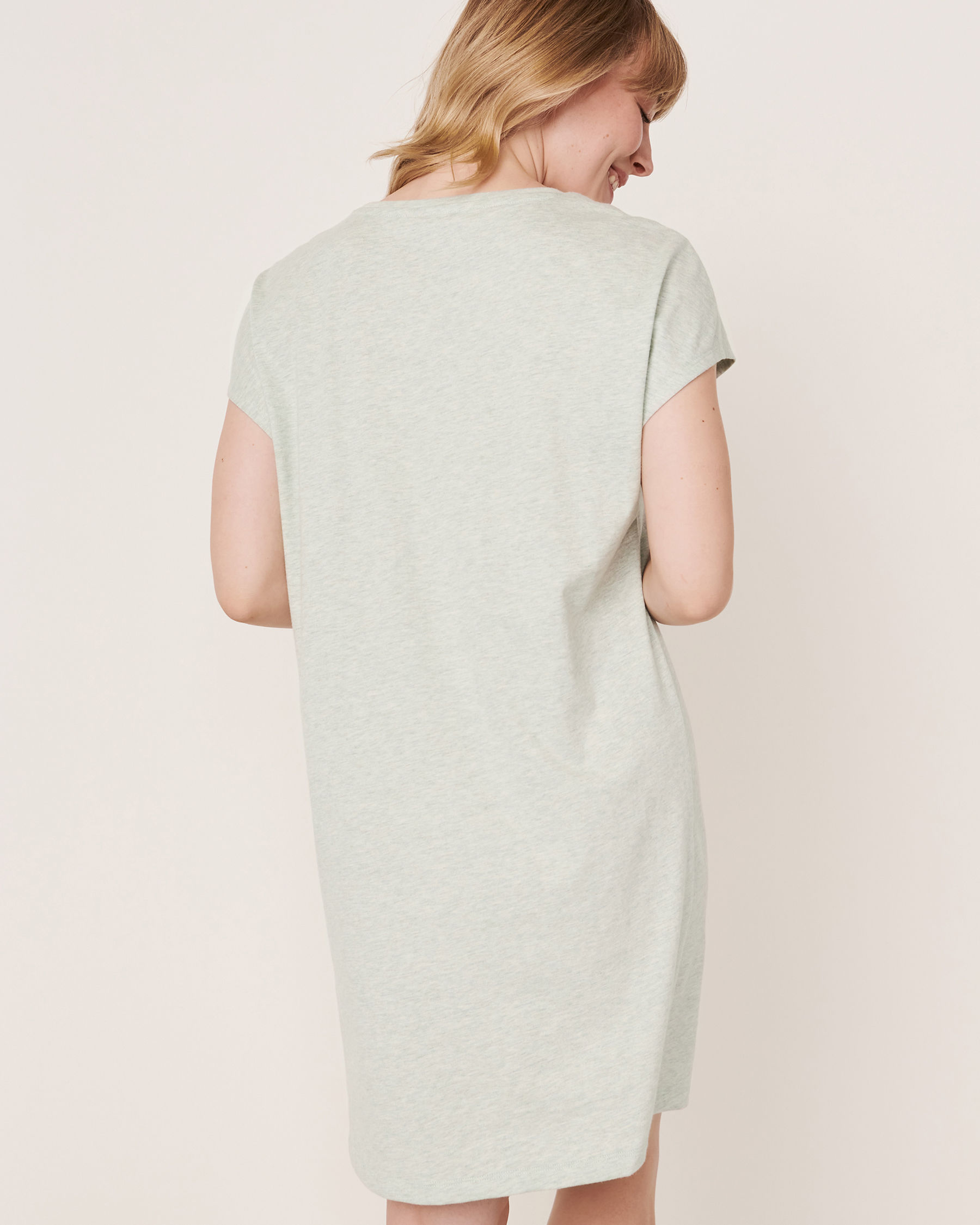 LA VIE EN ROSE Embroidered Detail  Scoop Neck Short Sleeve Sleepshirt Grey-blue 40500071 - View2