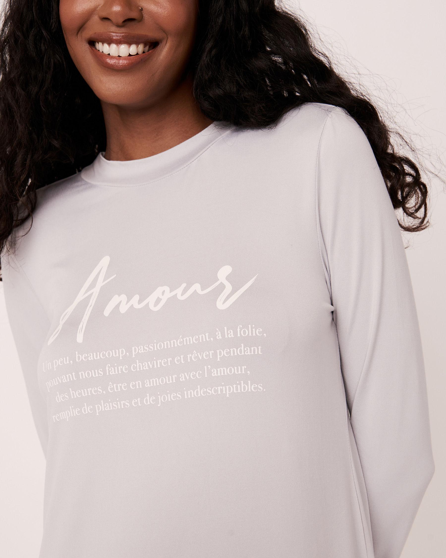 LA VIE EN ROSE High Neck Long Sleeve Sleepshirt Grey print 40500076 - View1