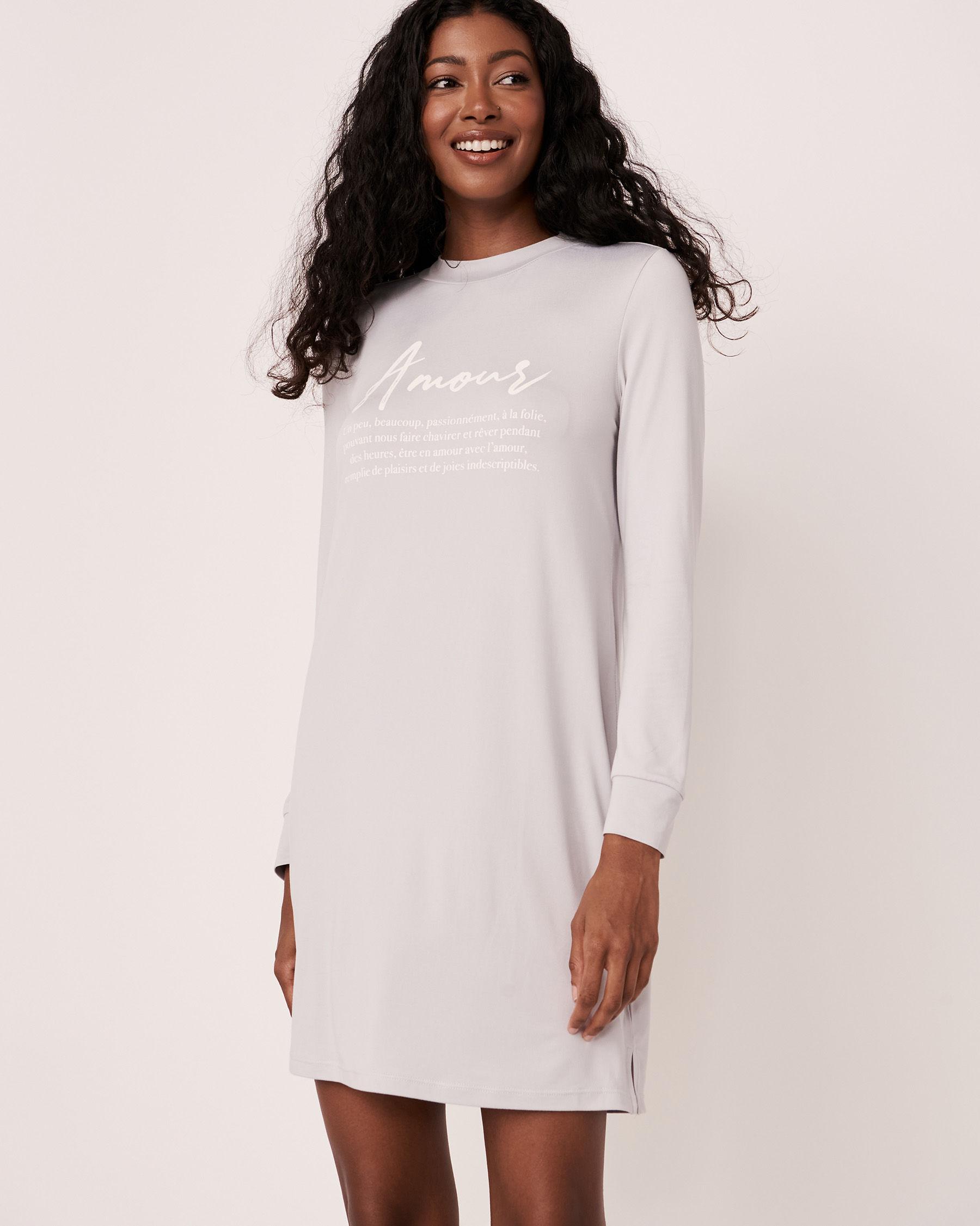 LA VIE EN ROSE High Neck Long Sleeve Sleepshirt Grey print 40500076 - View2