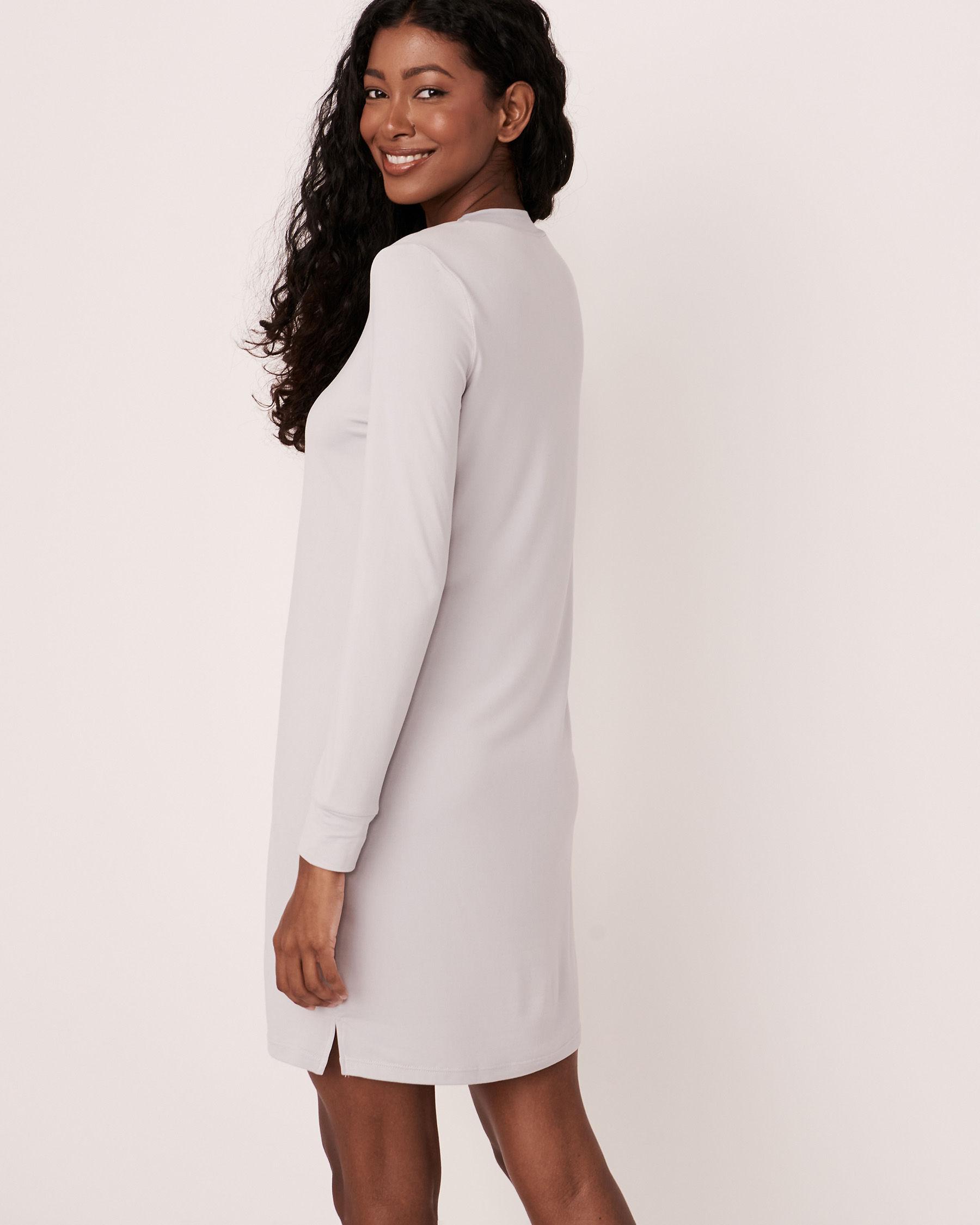 LA VIE EN ROSE High Neck Long Sleeve Sleepshirt Grey print 40500076 - View3