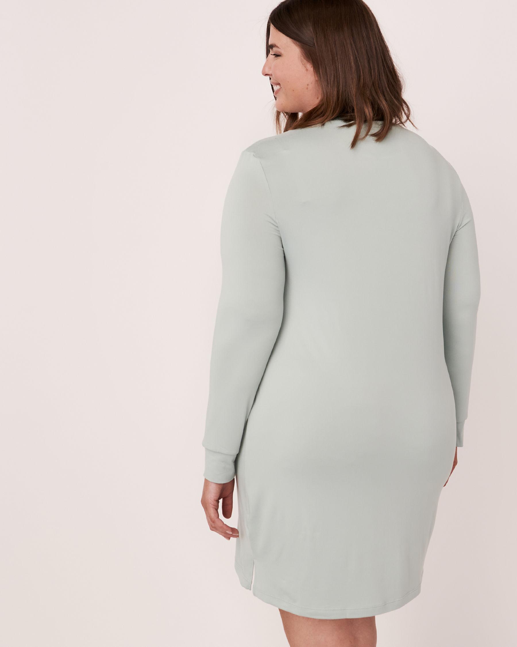 LA VIE EN ROSE High Neck Long Sleeve Sleepshirt Green 40500076 - View3