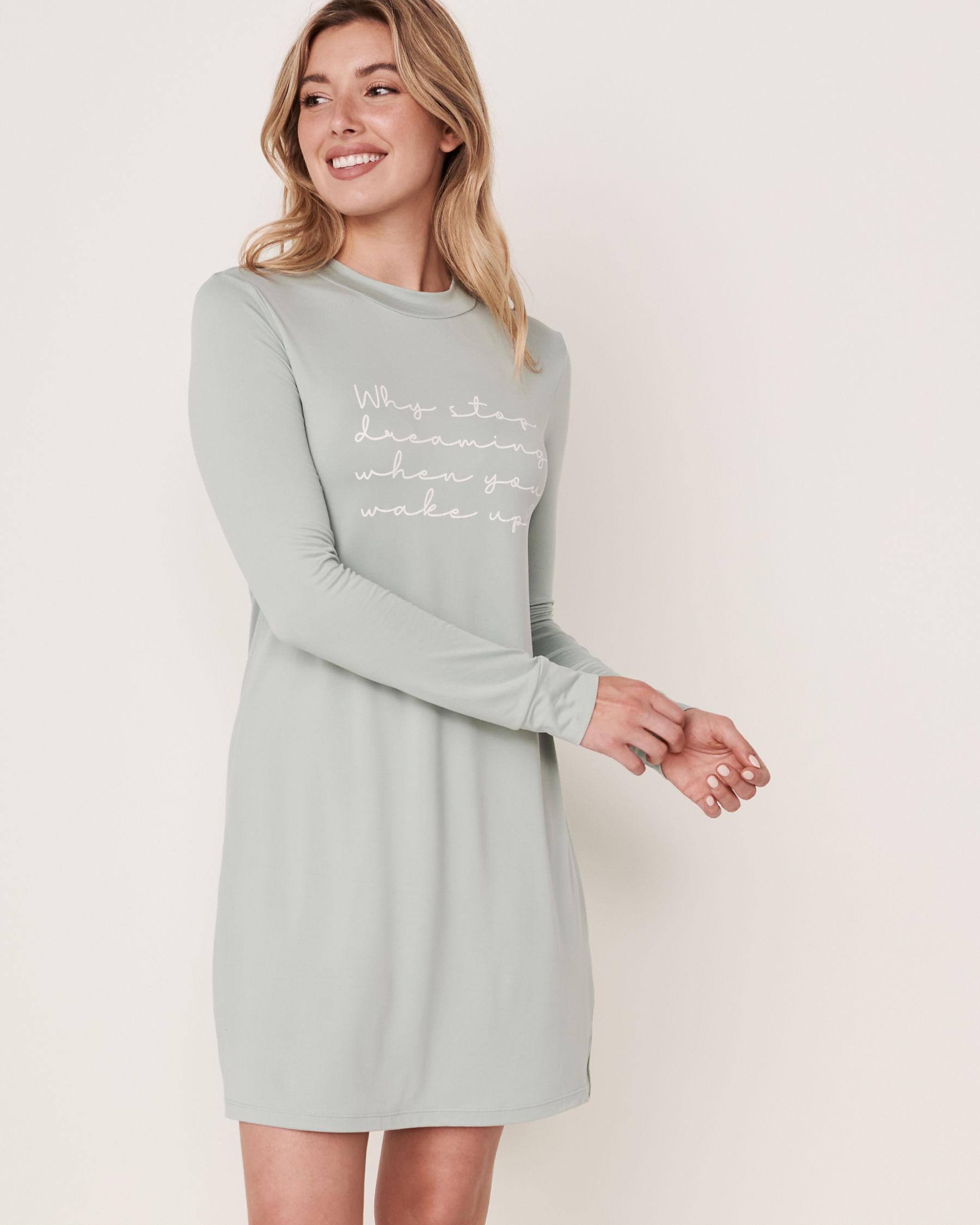 LA VIE EN ROSE High Neck Long Sleeve Sleepshirt Green 40500076 - View6