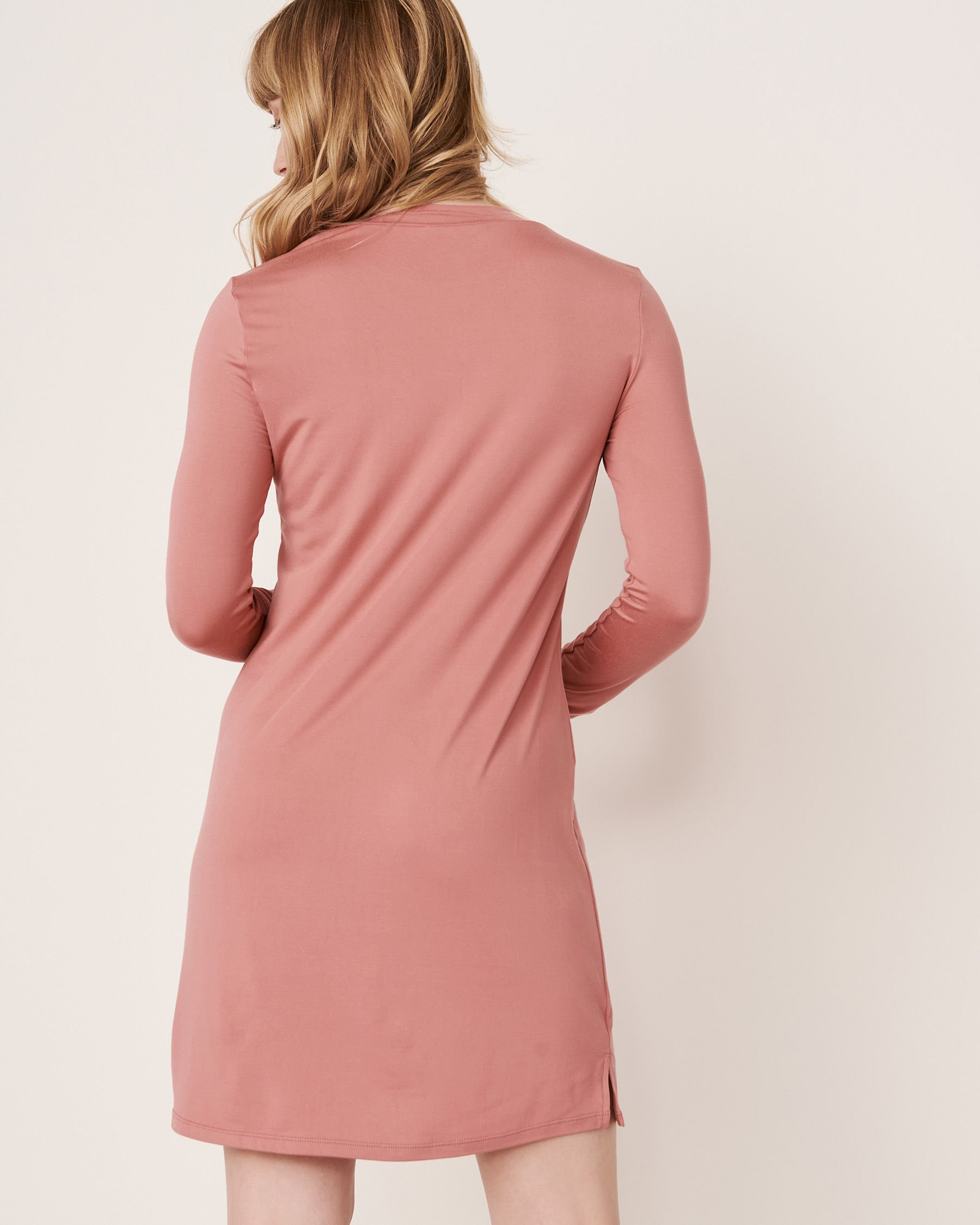LA VIE EN ROSE High Neck Long Sleeve Sleepshirt Dusty rose 40500076 - View2