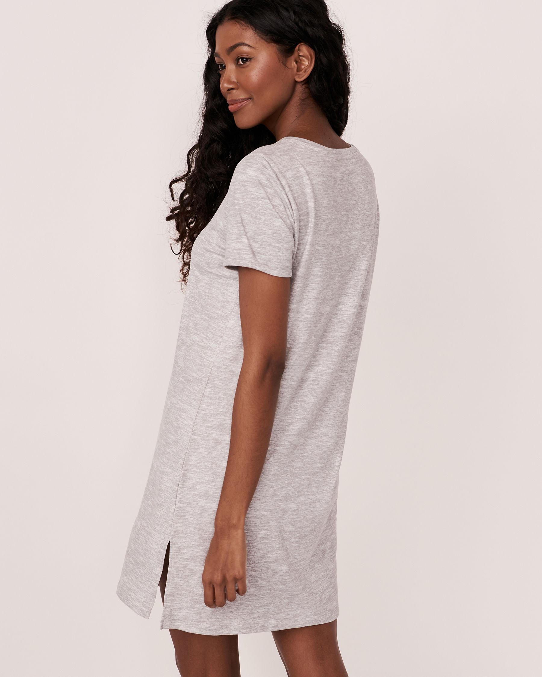 LA VIE EN ROSE V-neckline Short Sleeve Sleepshirt Grey 40500082 - View3