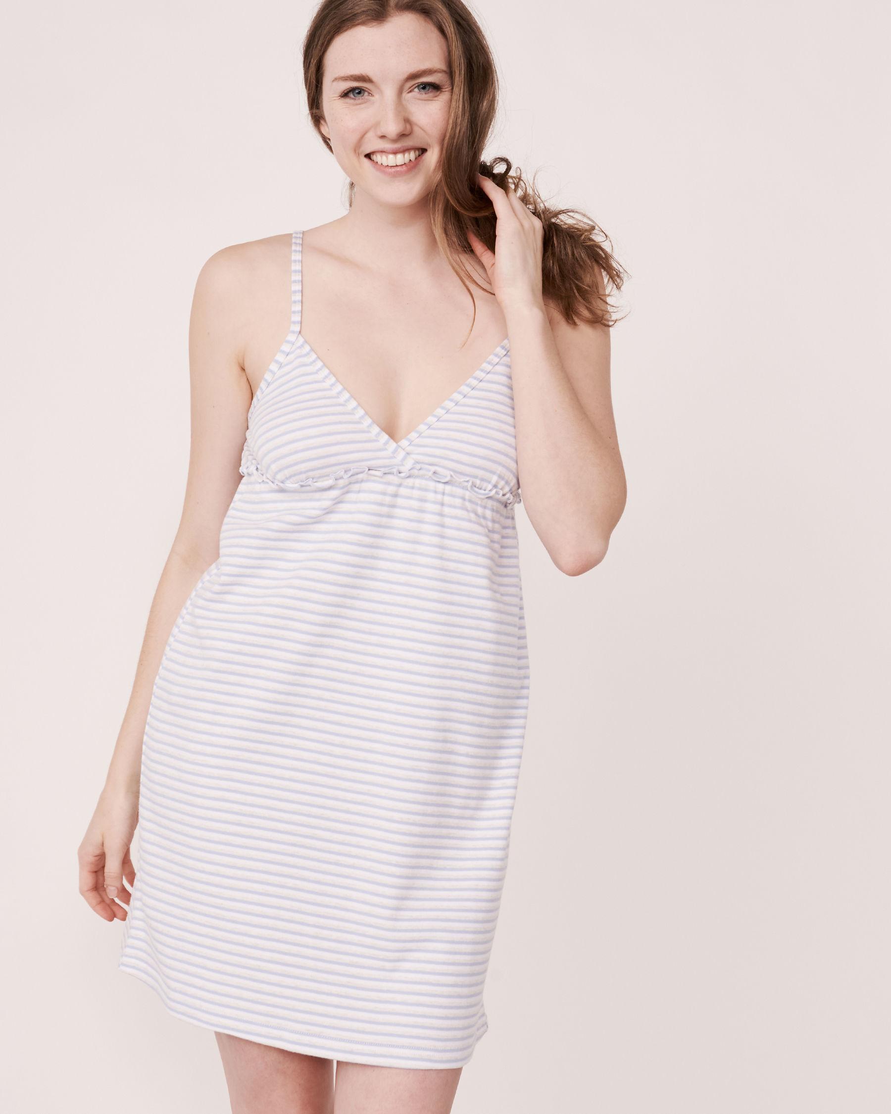 LA VIE EN ROSE Organic Cotton Thin Straps Nightie Blue and white stripes 40500003 - View1