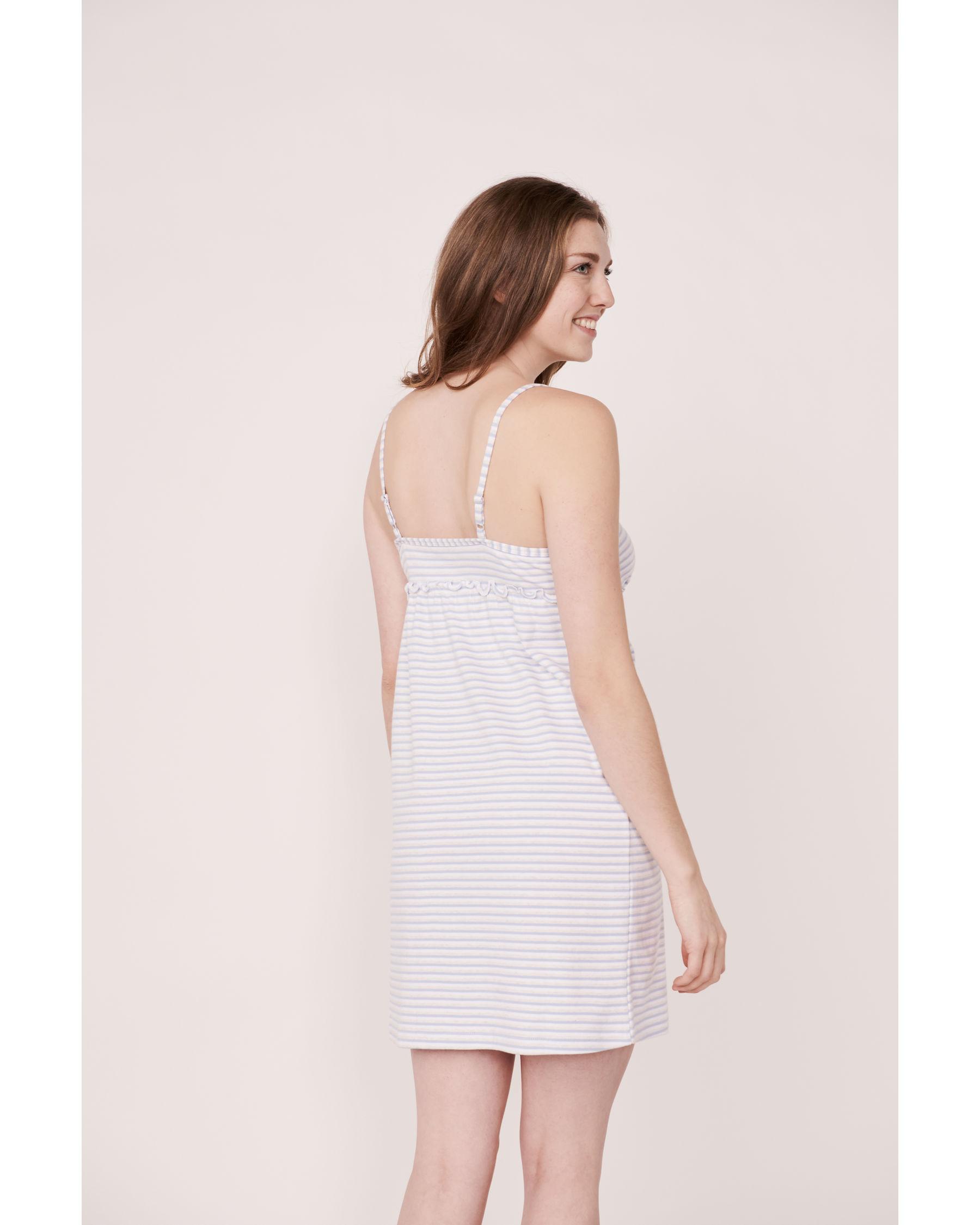 LA VIE EN ROSE Organic Cotton Thin Straps Nightie Blue and white stripes 40500003 - View2
