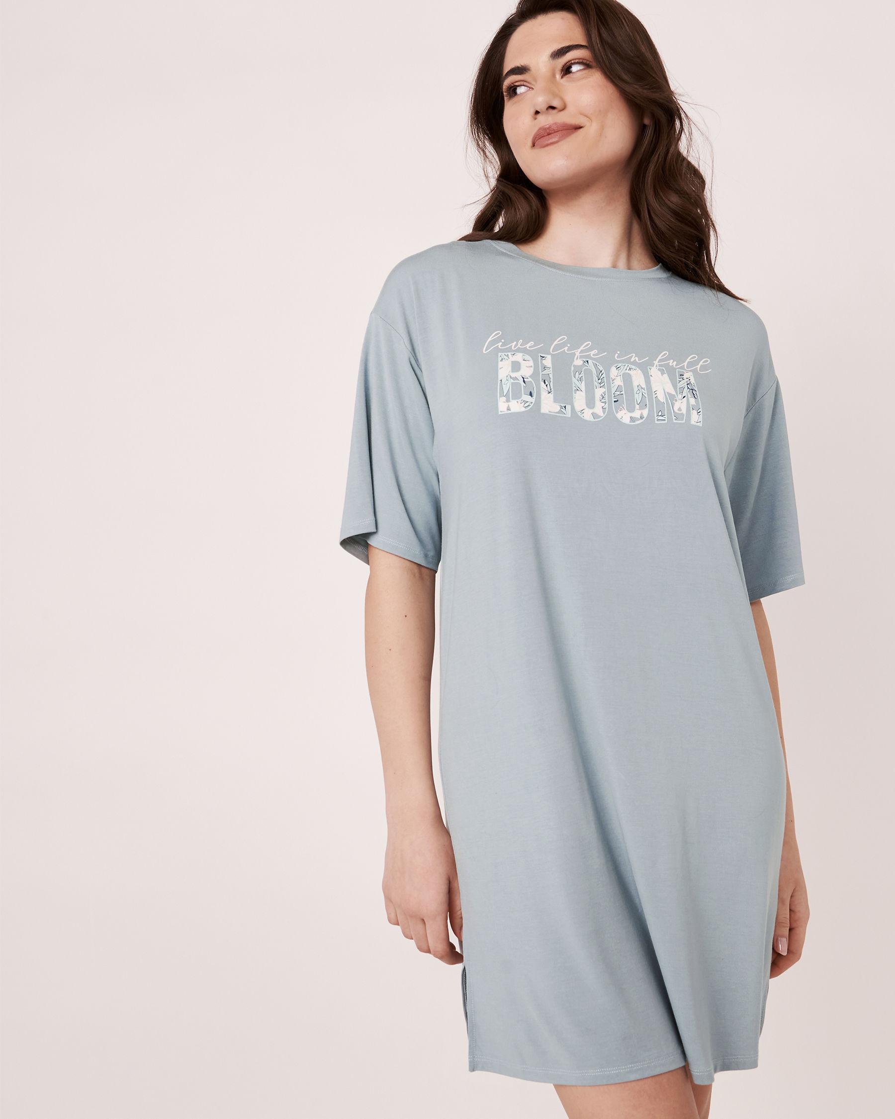 LA VIE EN ROSE Chemise de nuit manches courtes tombantes Bleu gris 40500052 - Voir3