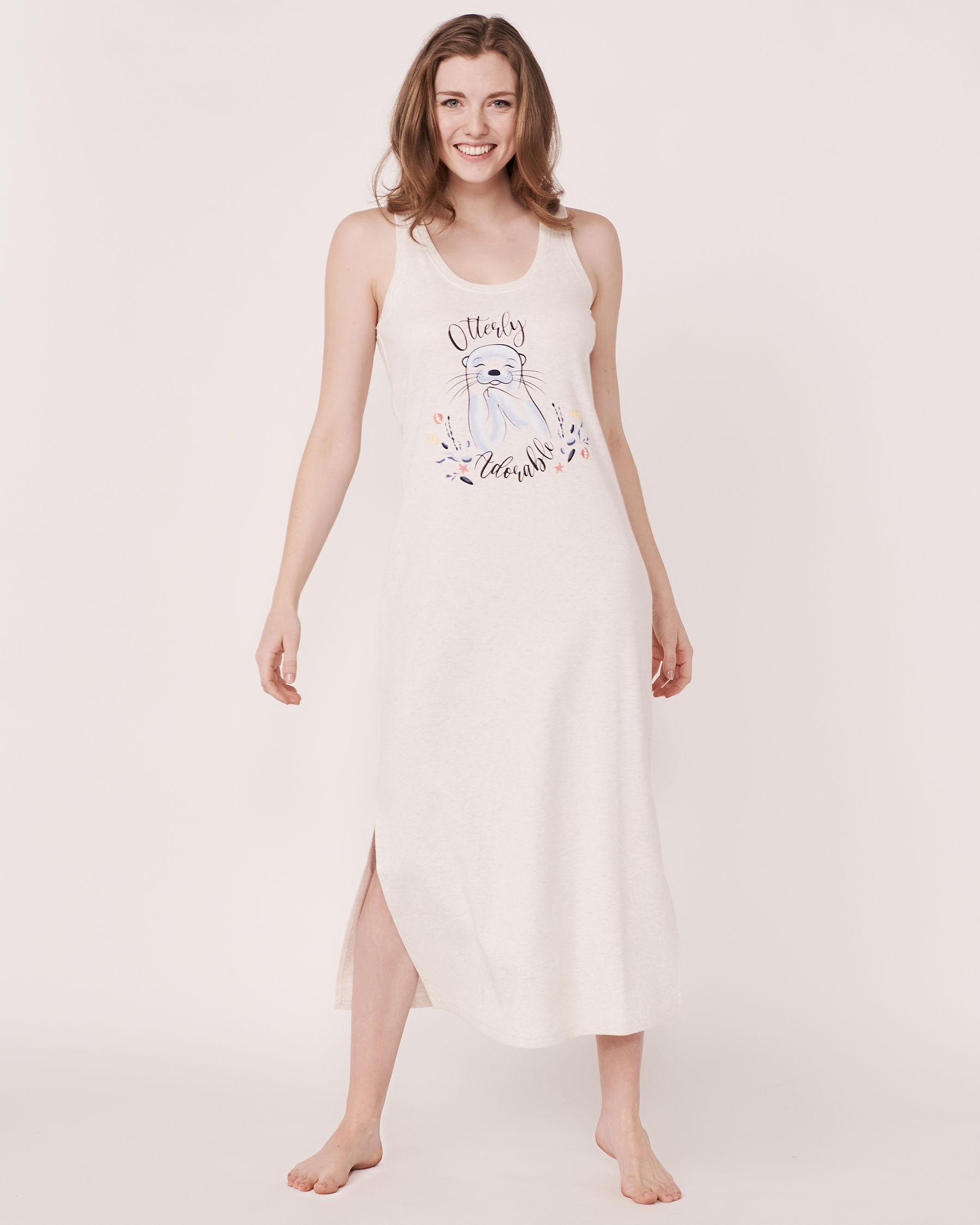 LA VIE EN ROSE Organic Cotton Sleeveless Long Sleepshirt Soft grey 40500002 - View3