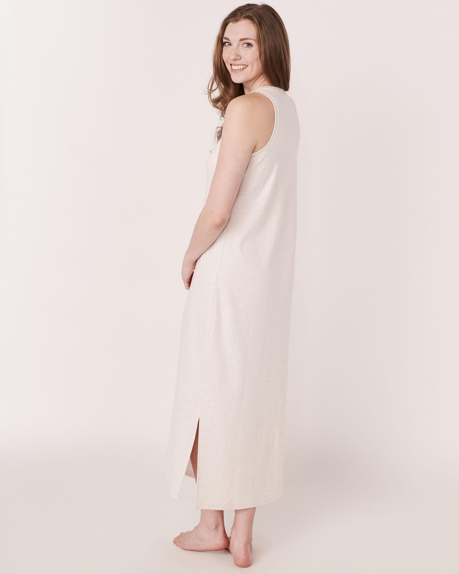 LA VIE EN ROSE Organic Cotton Sleeveless Long Sleepshirt Soft grey 40500002 - View4