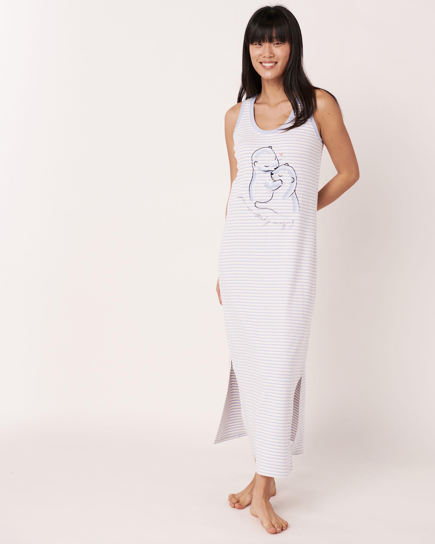 LA VIE EN ROSE Organic Cotton Sleeveless Long Sleepshirt Blue and white stripes 40500002 - View2