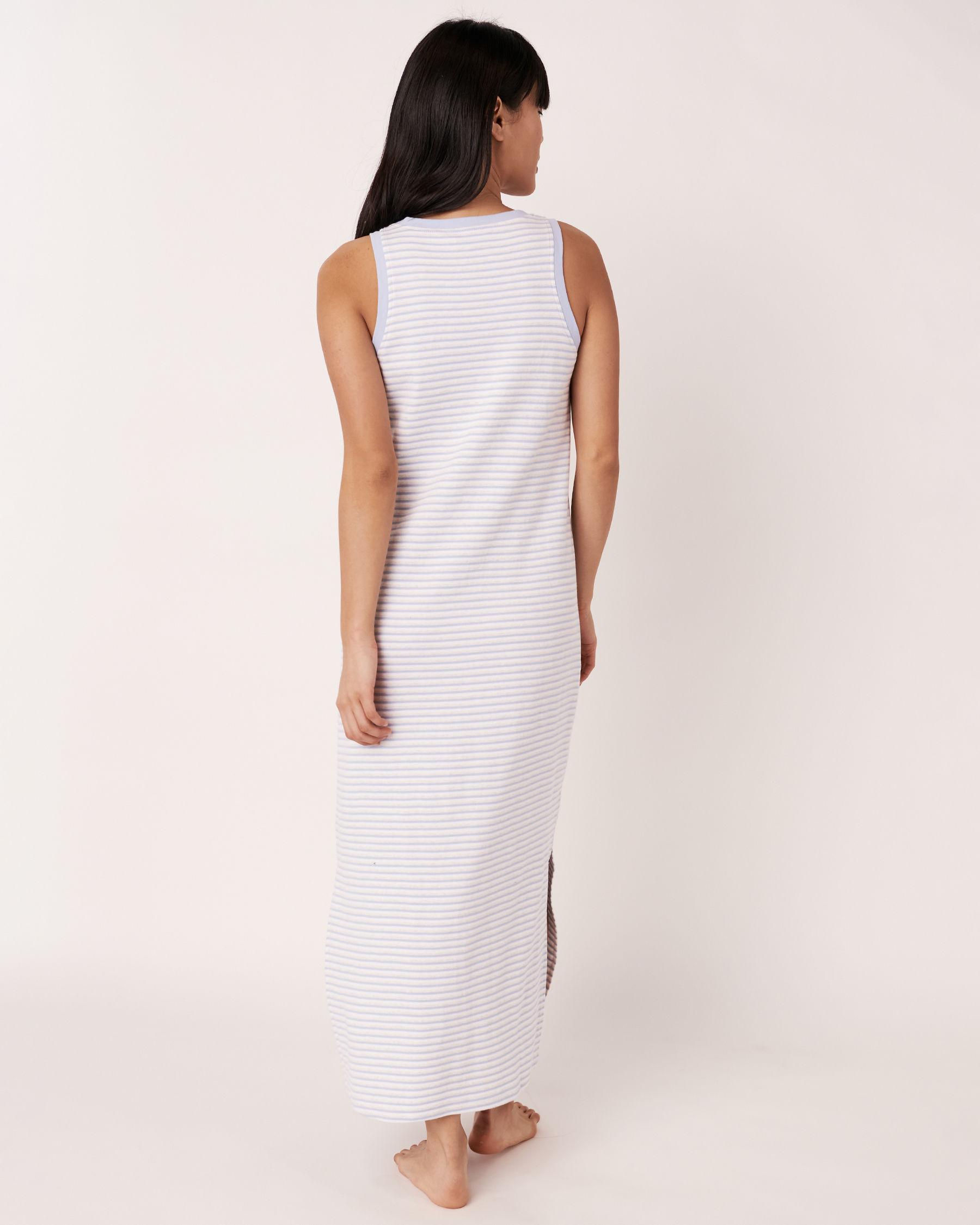 LA VIE EN ROSE Organic Cotton Sleeveless Long Sleepshirt Blue and white stripes 40500002 - View3