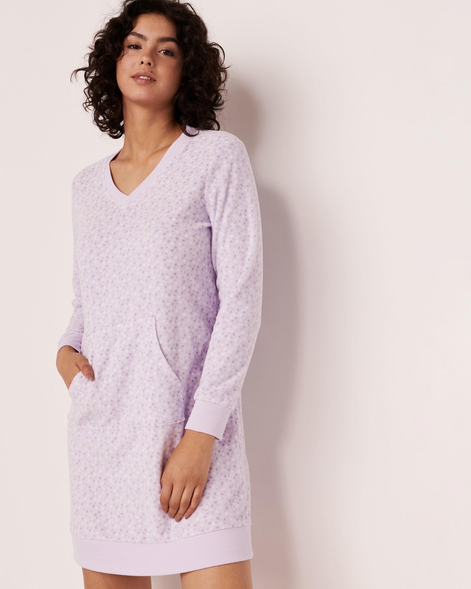 LA VIE EN ROSE Micropolar Long Sleeve Sleepshirt Multi dots 40500098 - View1