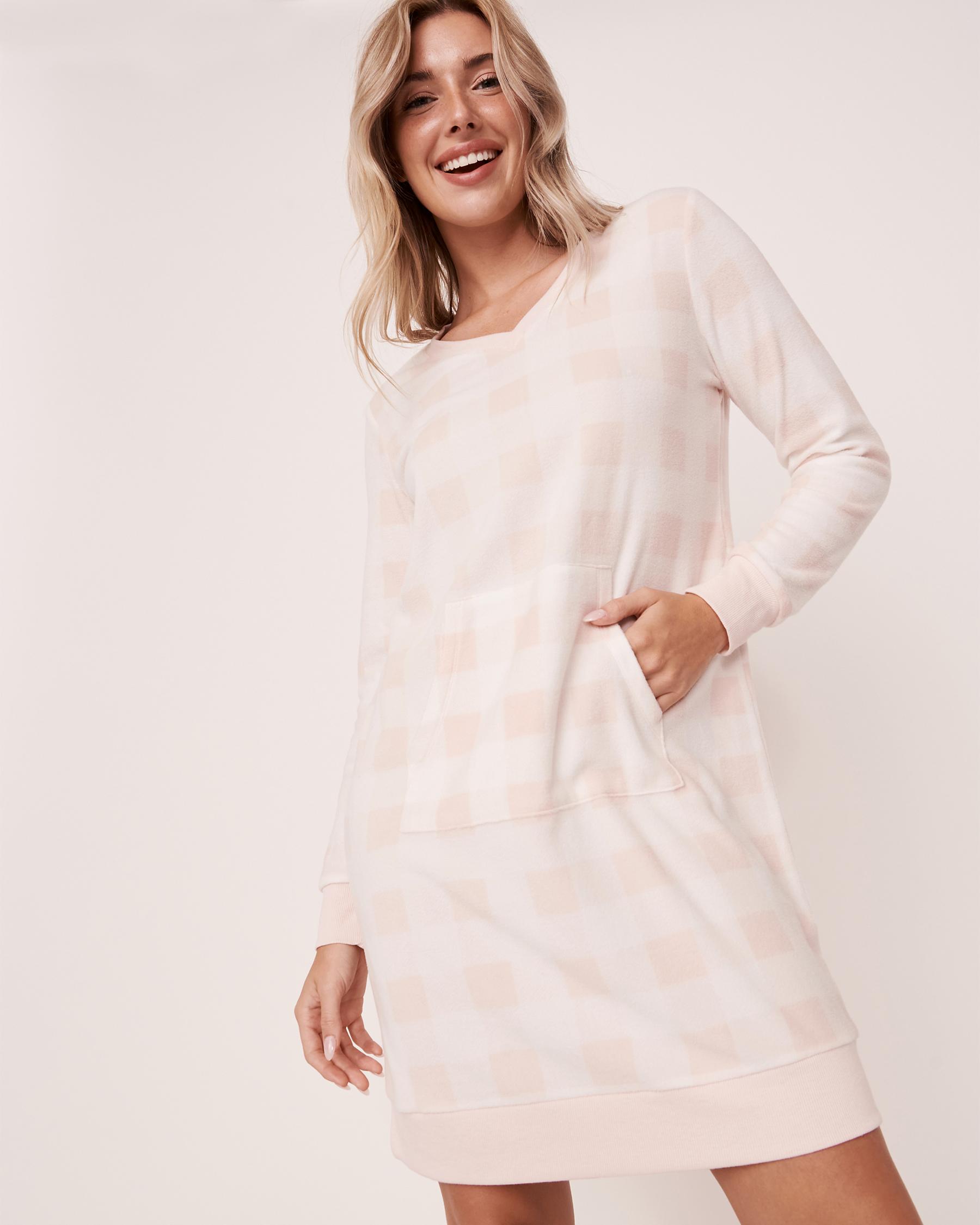 LA VIE EN ROSE Micropolar Long Sleeve Sleepshirt Pink vichy plaid 40500098 - View2