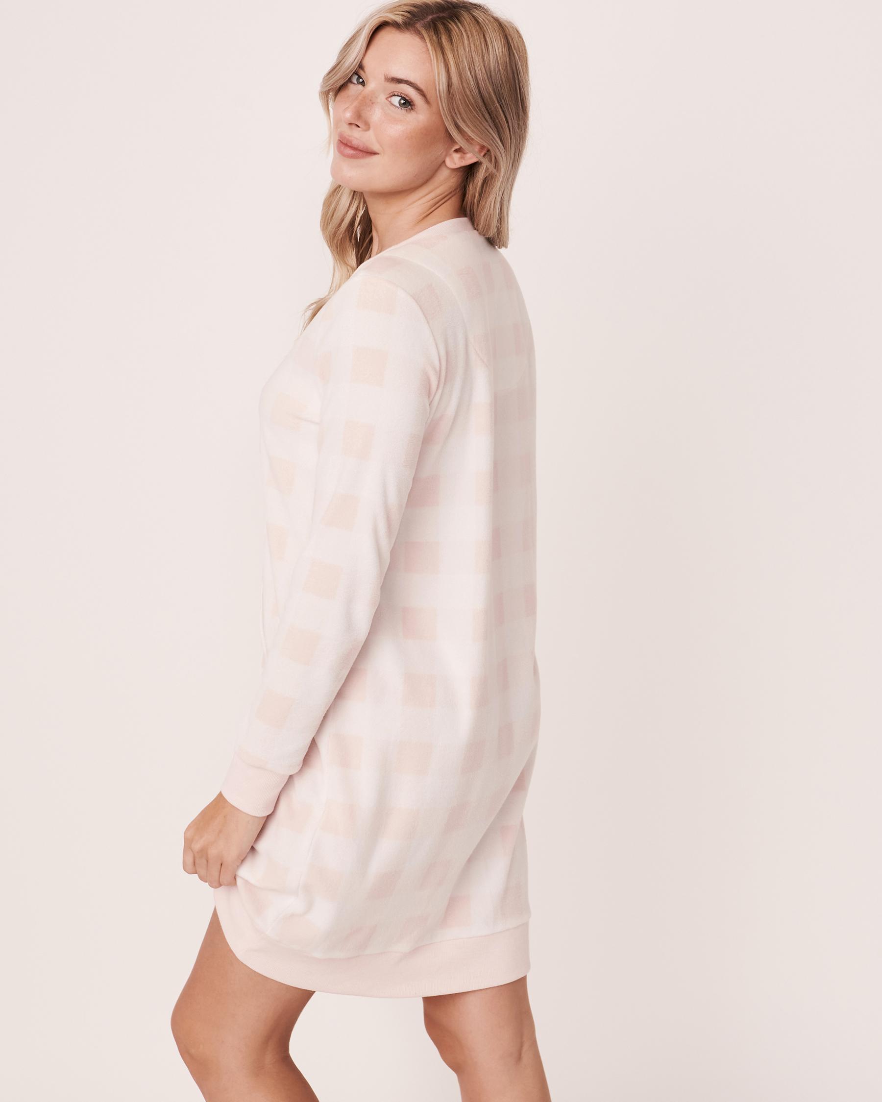 LA VIE EN ROSE Micropolar Long Sleeve Sleepshirt Pink vichy plaid 40500098 - View3