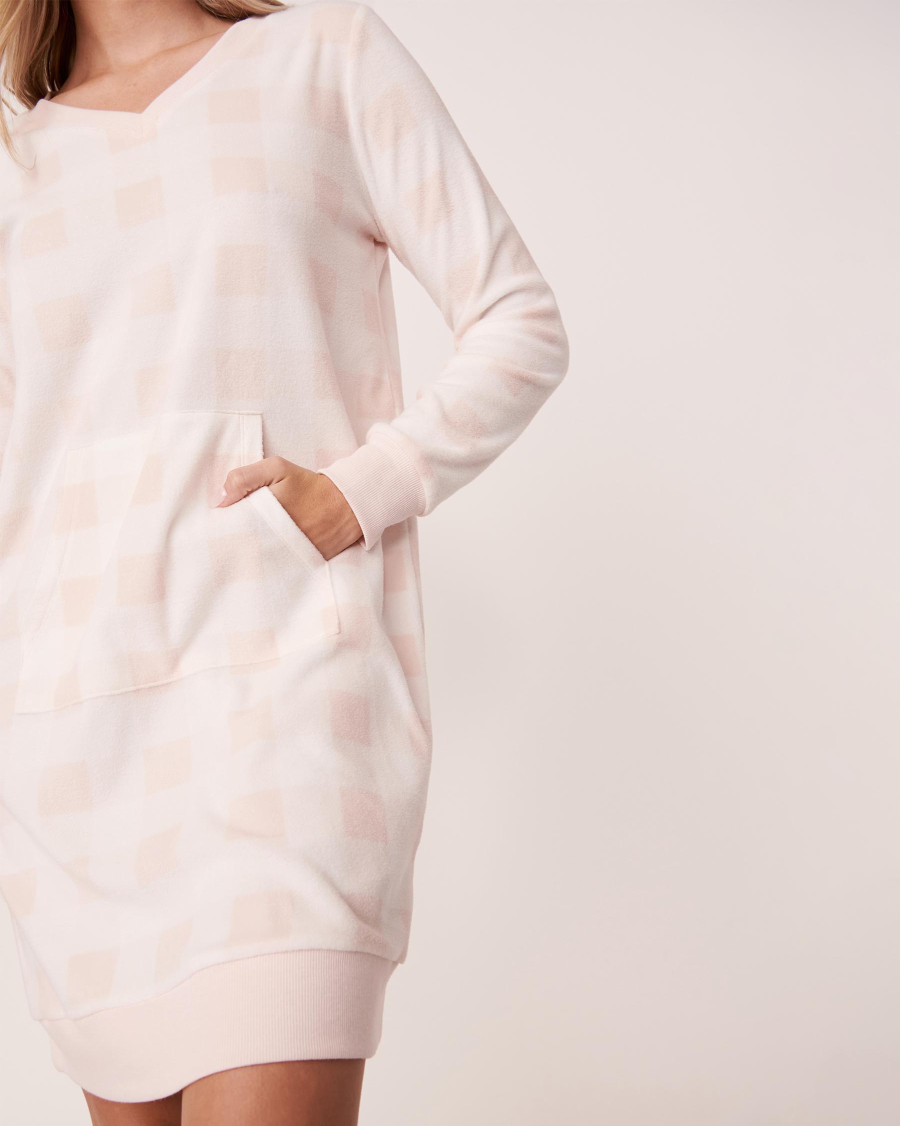 LA VIE EN ROSE Micropolar Long Sleeve Sleepshirt Pink vichy plaid 40500098 - View4