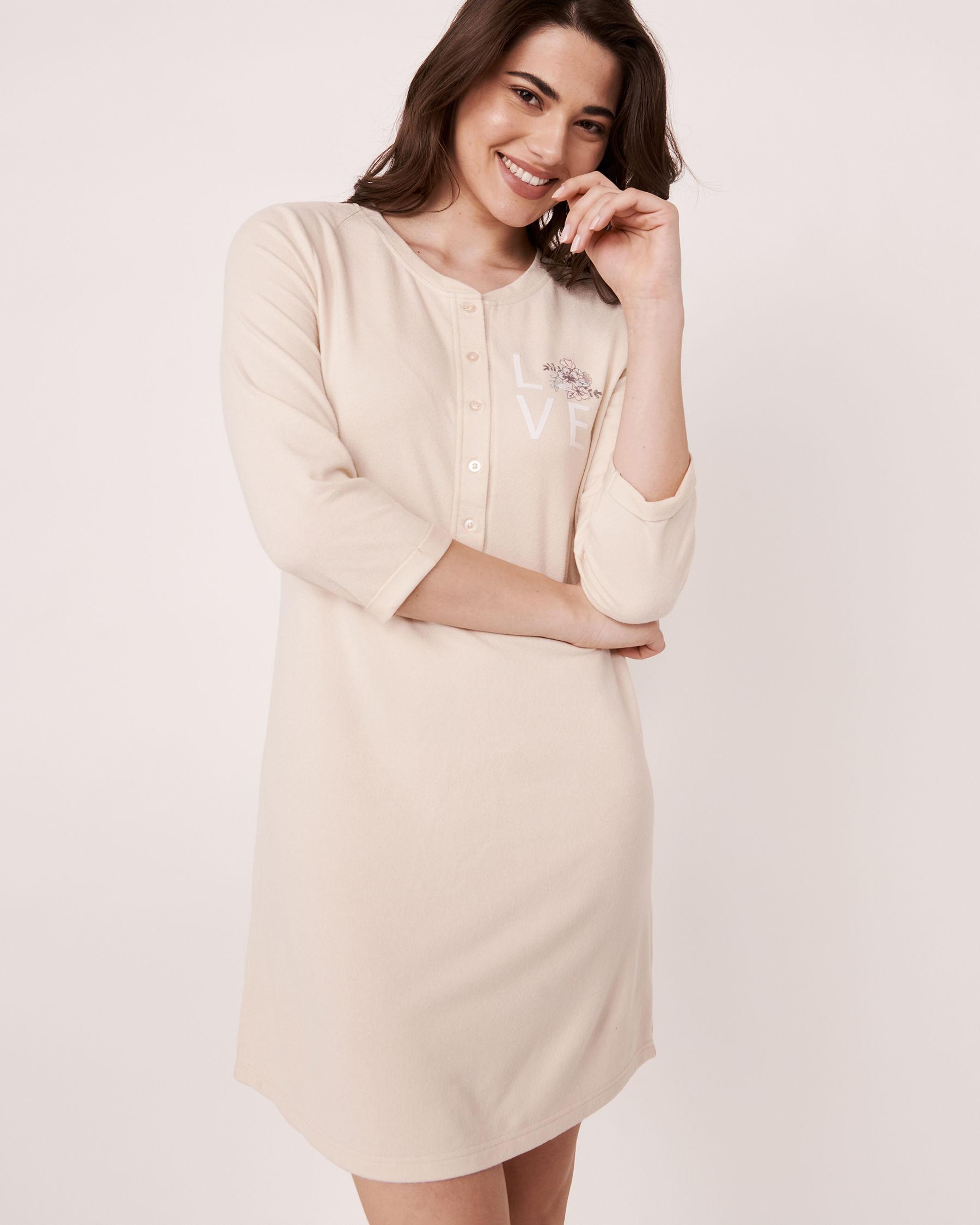 LA VIE EN ROSE Recycled Fibers 3/4 Sleeve Sleepshirt Grey mix 40500090 - View1