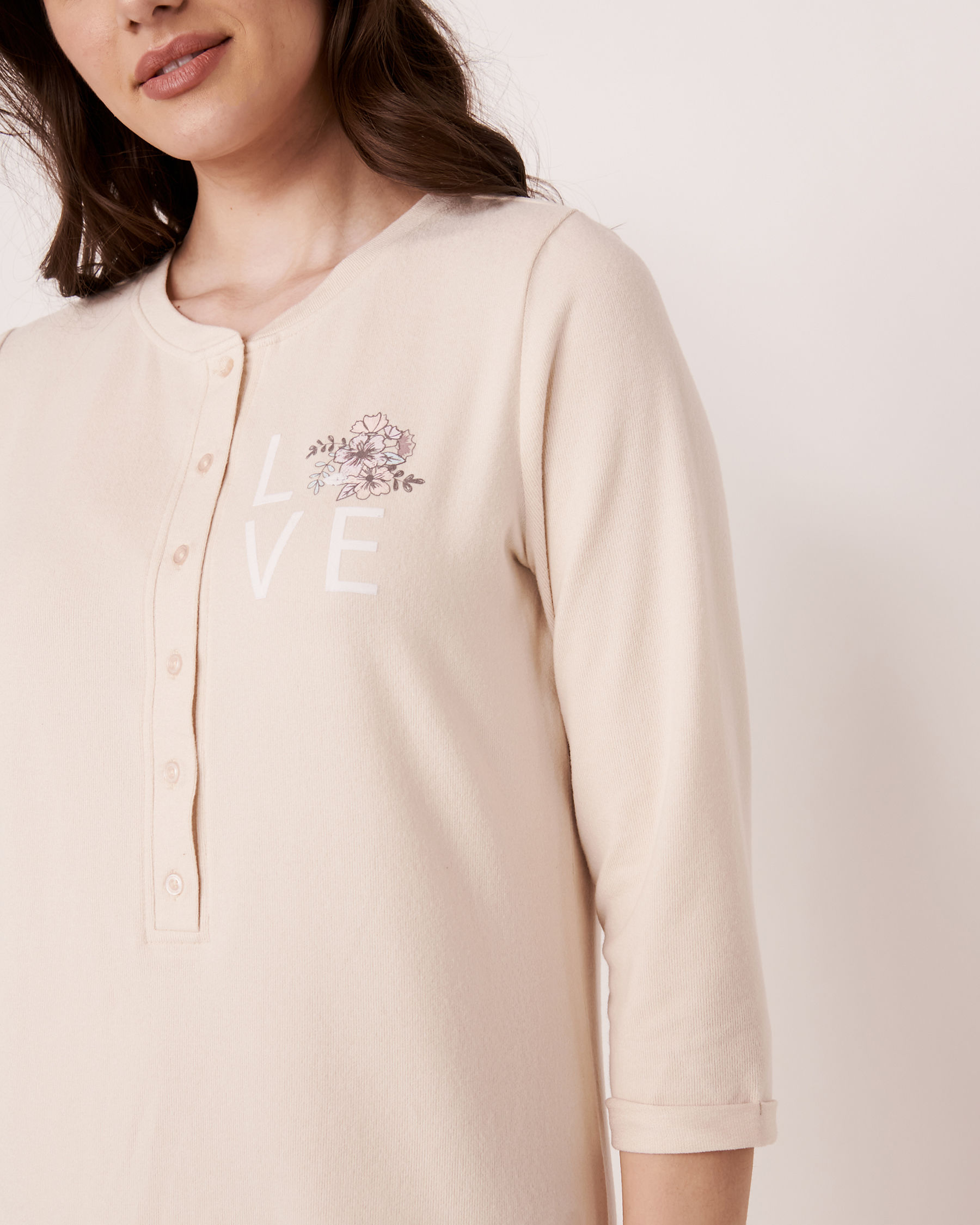 LA VIE EN ROSE Recycled Fibers 3/4 Sleeve Sleepshirt Grey mix 40500090 - View3