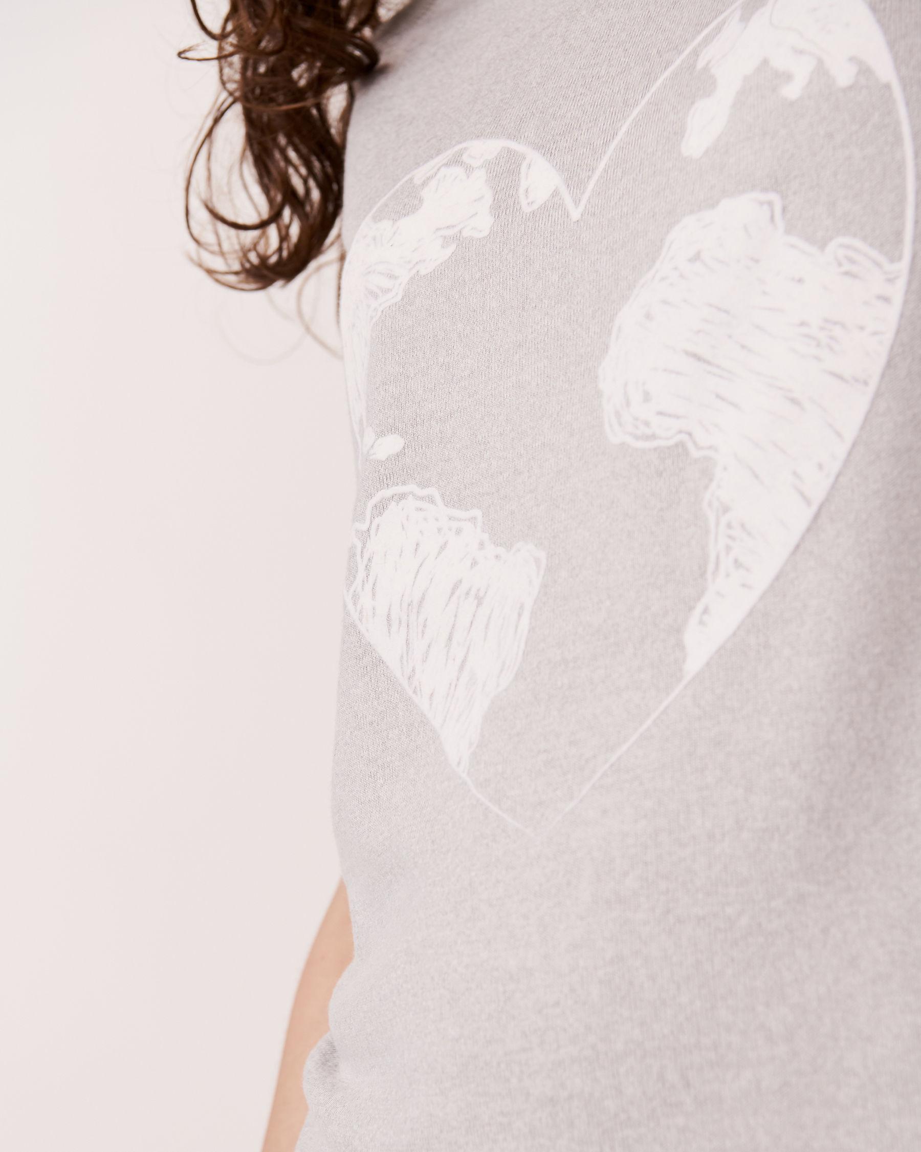 LA VIE EN ROSE Chemise de nuit manches courtes en fibres recyclées Mélange de gris 40500030 - Voir3
