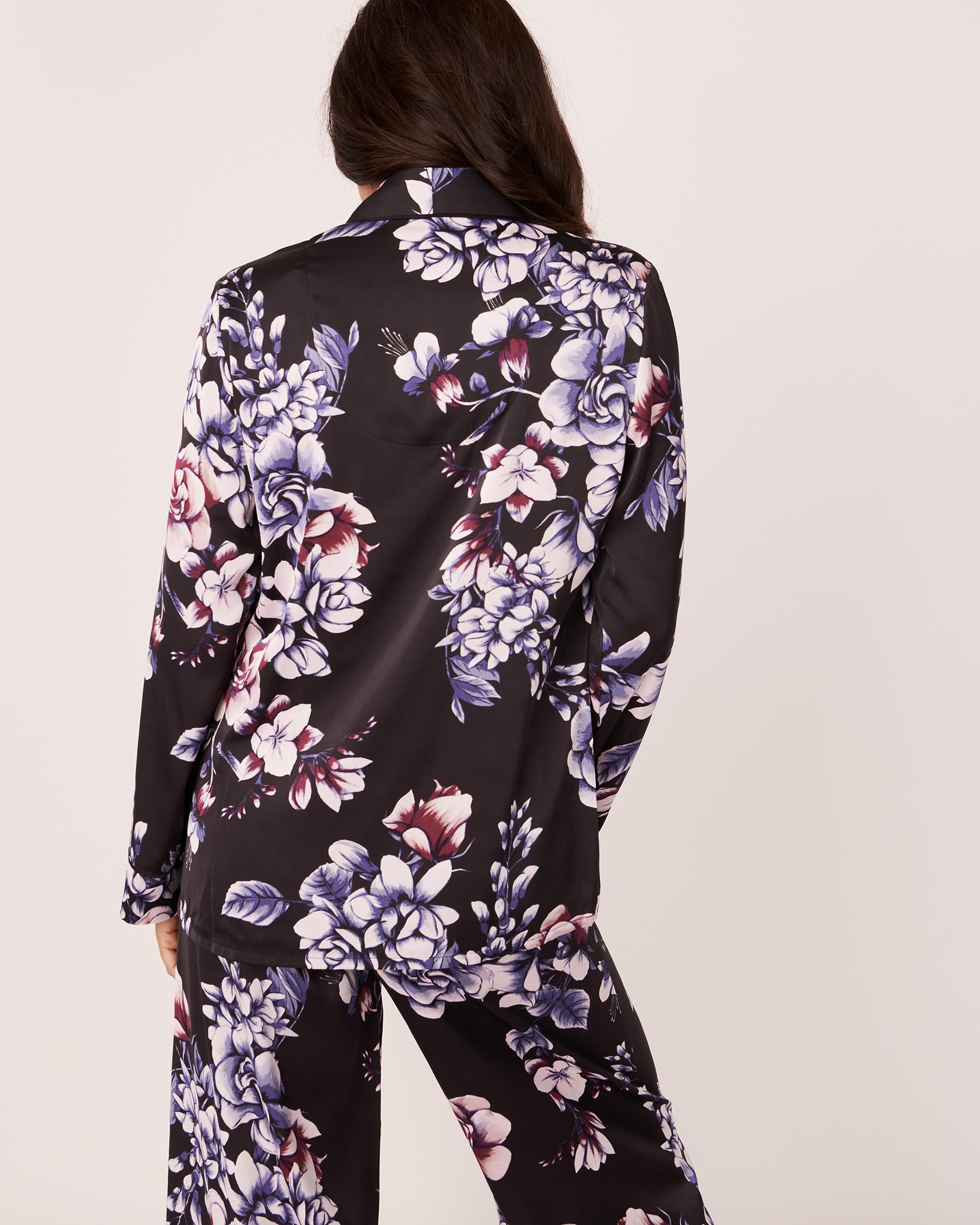 LA VIE EN ROSE Satin Long Sleeve Shirt Watercolor florals 60100003 - View2