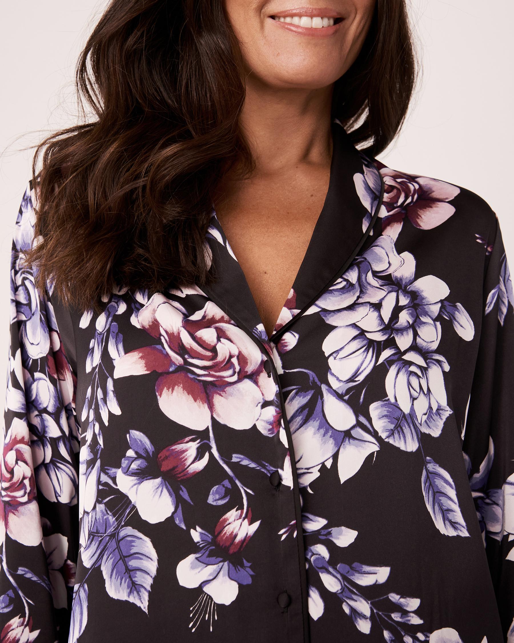 LA VIE EN ROSE Satin Long Sleeve Shirt Watercolor florals 60100003 - View3