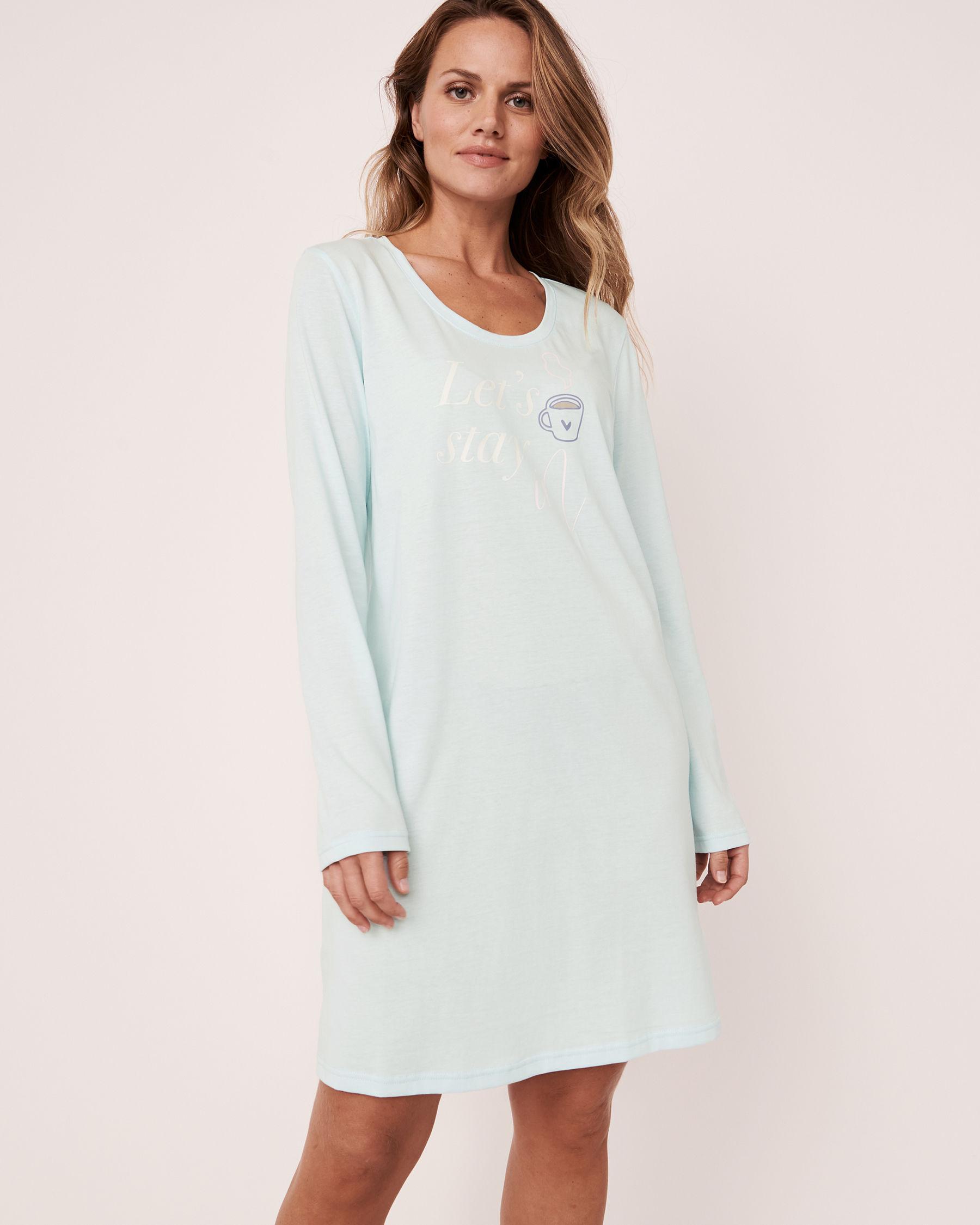 LA VIE EN ROSE Scoop Neck Long Sleeve Sleepshirt Blue glow 40500105 - View1