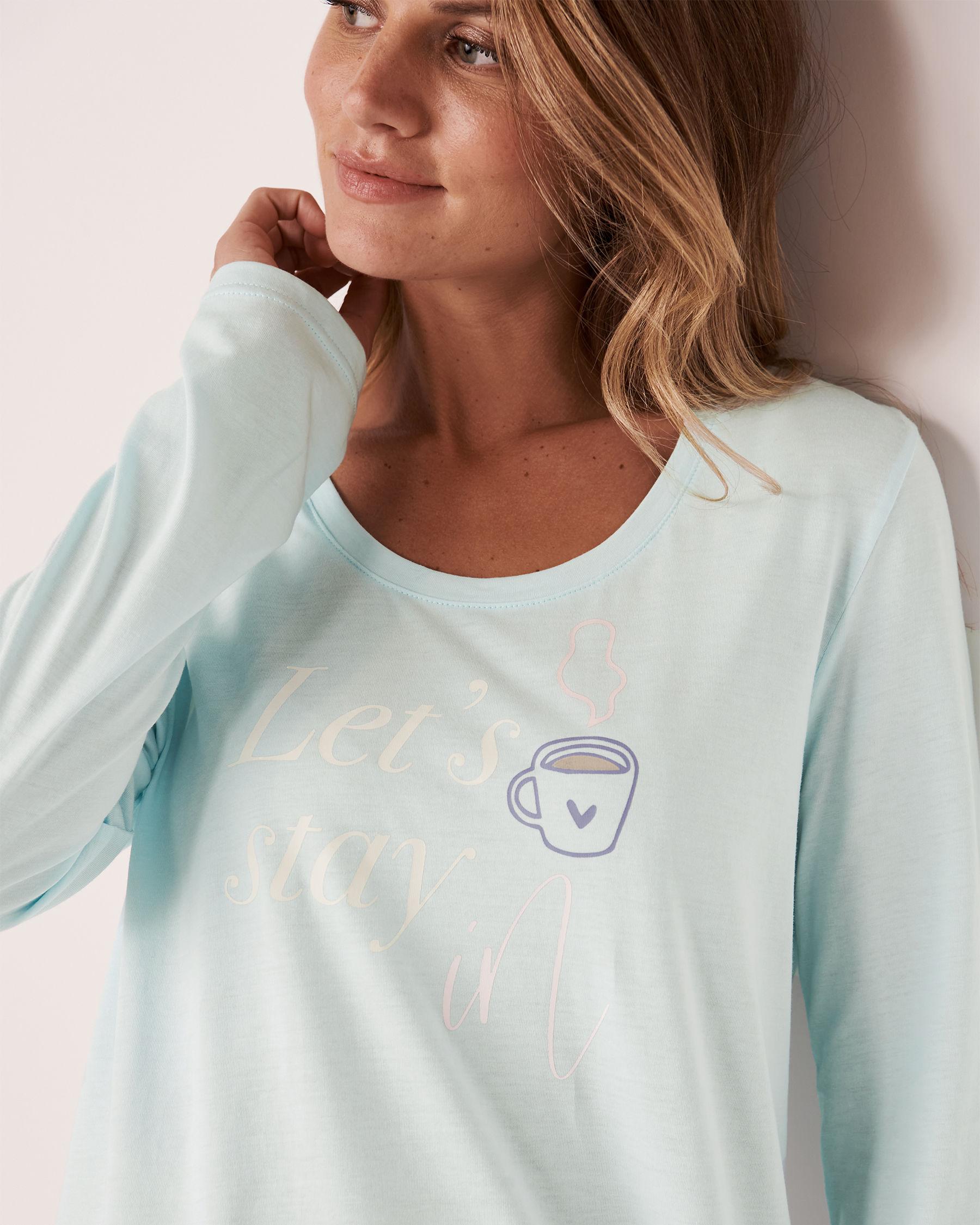 LA VIE EN ROSE Scoop Neck Long Sleeve Sleepshirt Blue glow 40500105 - View2