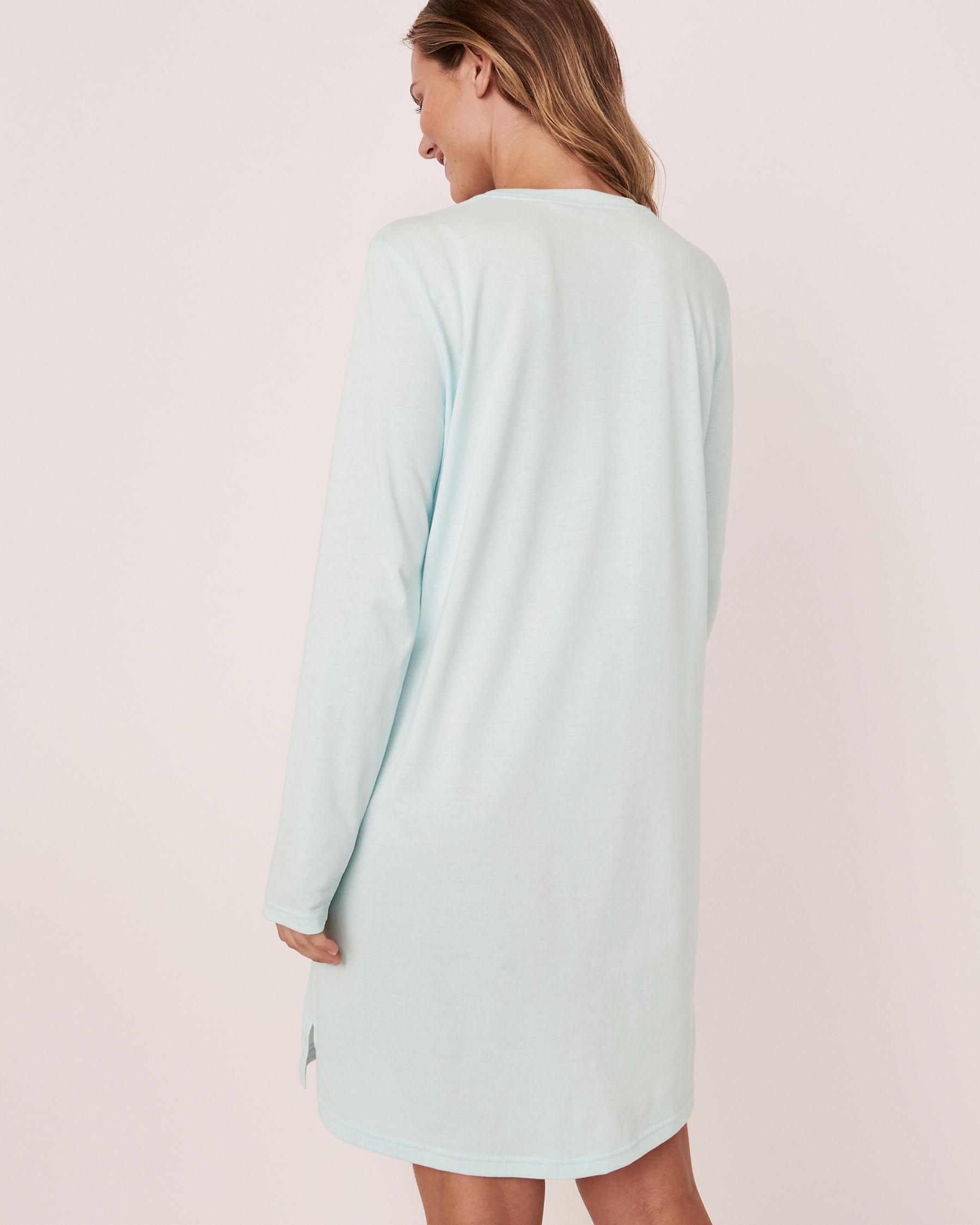 LA VIE EN ROSE Scoop Neck Long Sleeve Sleepshirt Blue glow 40500105 - View3