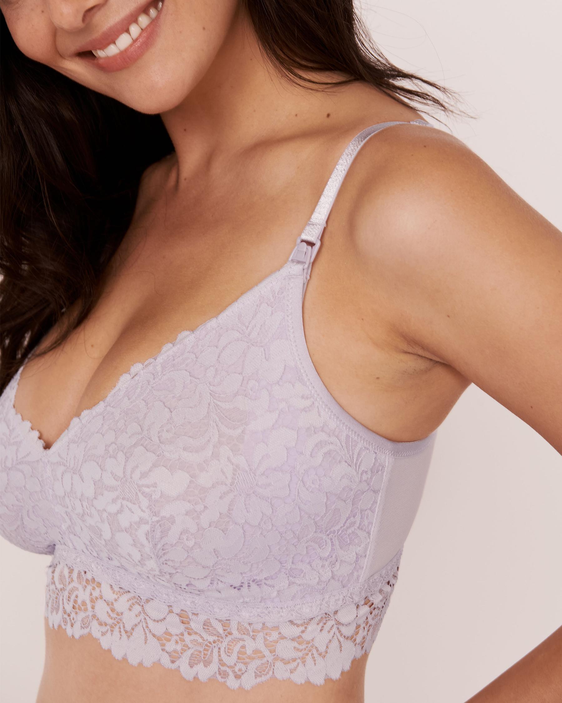 LA VIE EN ROSE Nursing Mesh and Lace Bralette Lavender 10100027 - View3