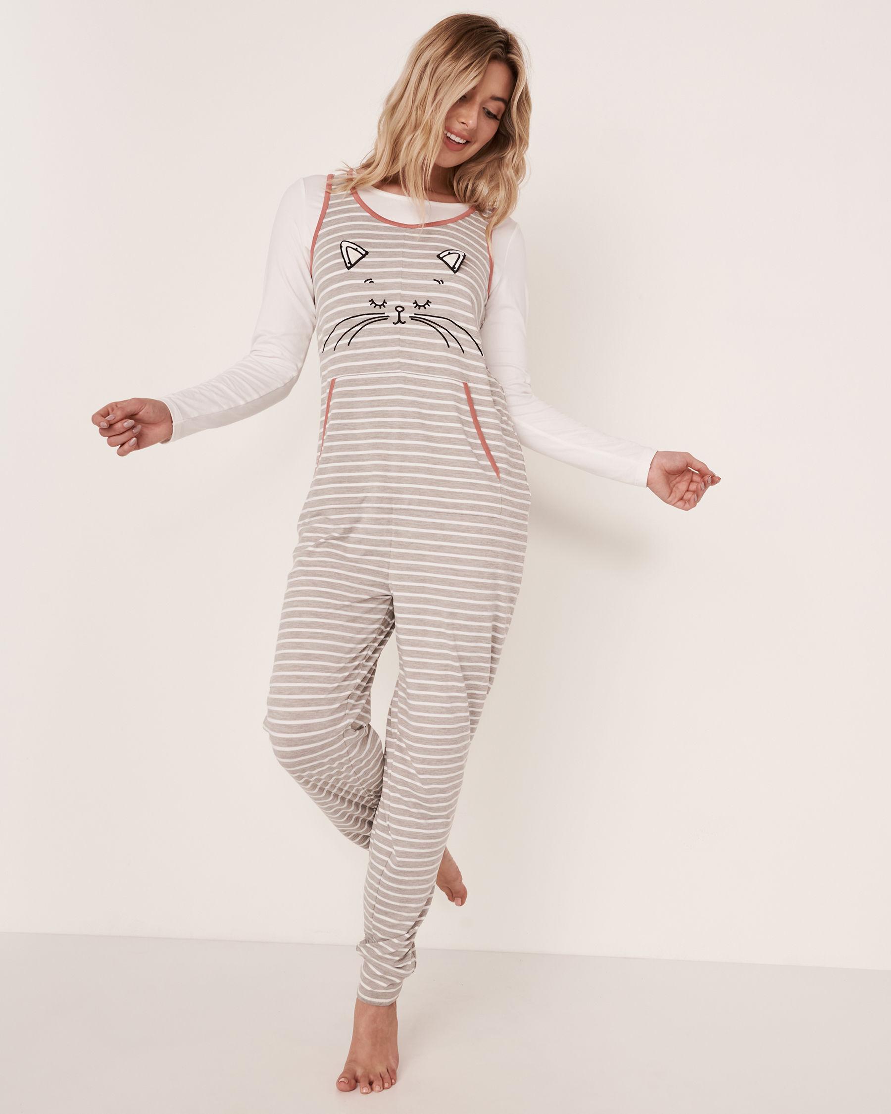 LA VIE EN ROSE 3D Cat Sleeveless Jumpsuit Grey 40300022 - View2