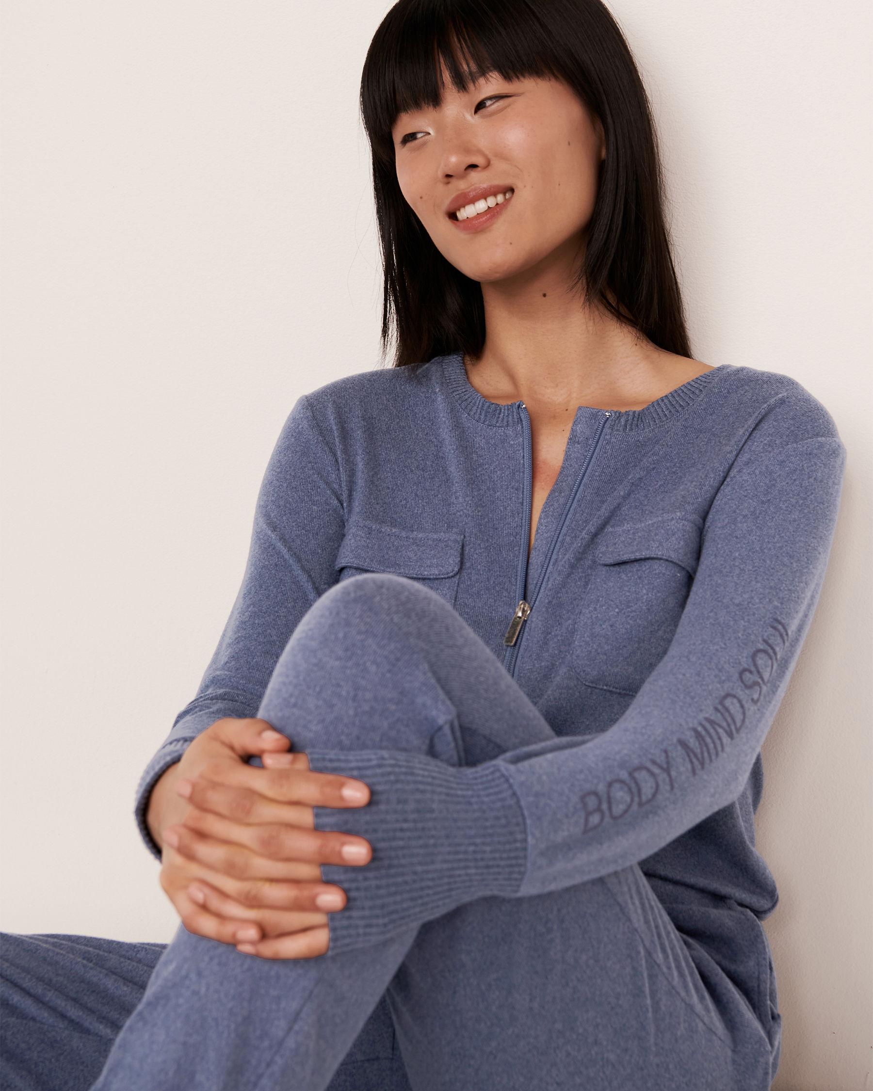 LA VIE EN ROSE Combinaison longue fermeture éclair en tricot doux Mélange bleu jeans 50300004 - Voir1