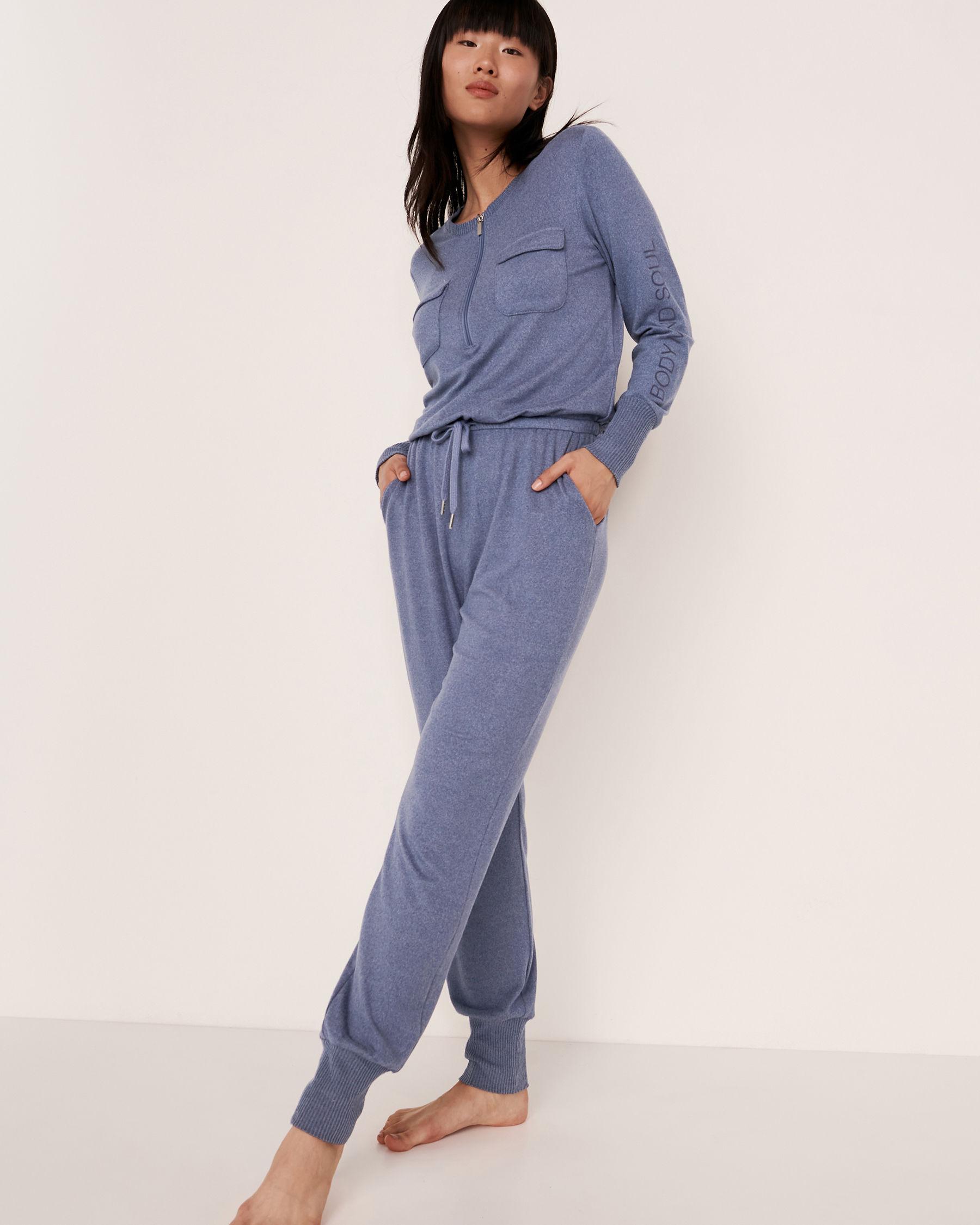LA VIE EN ROSE Combinaison longue fermeture éclair en tricot doux Mélange bleu jeans 50300004 - Voir2
