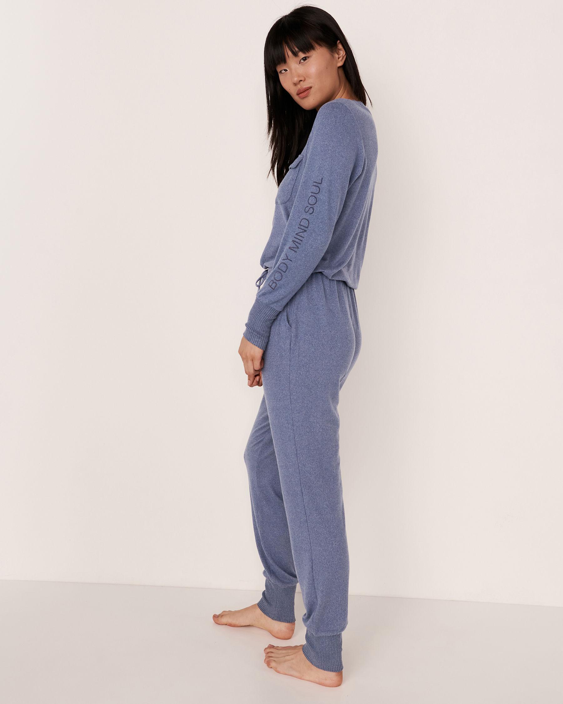LA VIE EN ROSE Combinaison longue fermeture éclair en tricot doux Mélange bleu jeans 50300004 - Voir3