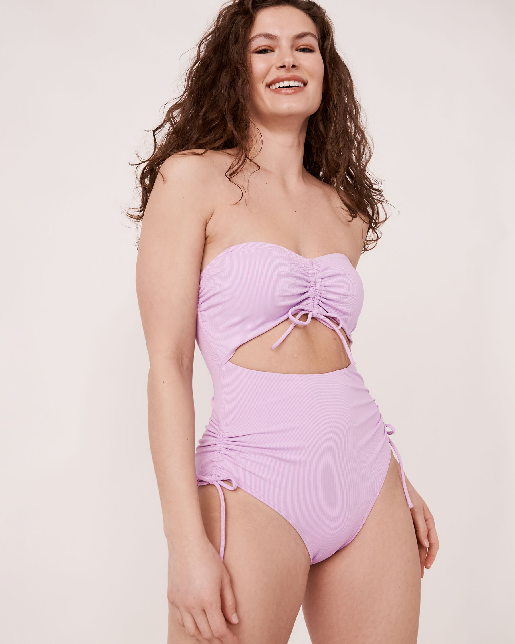 AQUAROSE SOLID RIB Recycled Fibers Bandeau One-piece Swimsuit Lilac 70400007 - View1