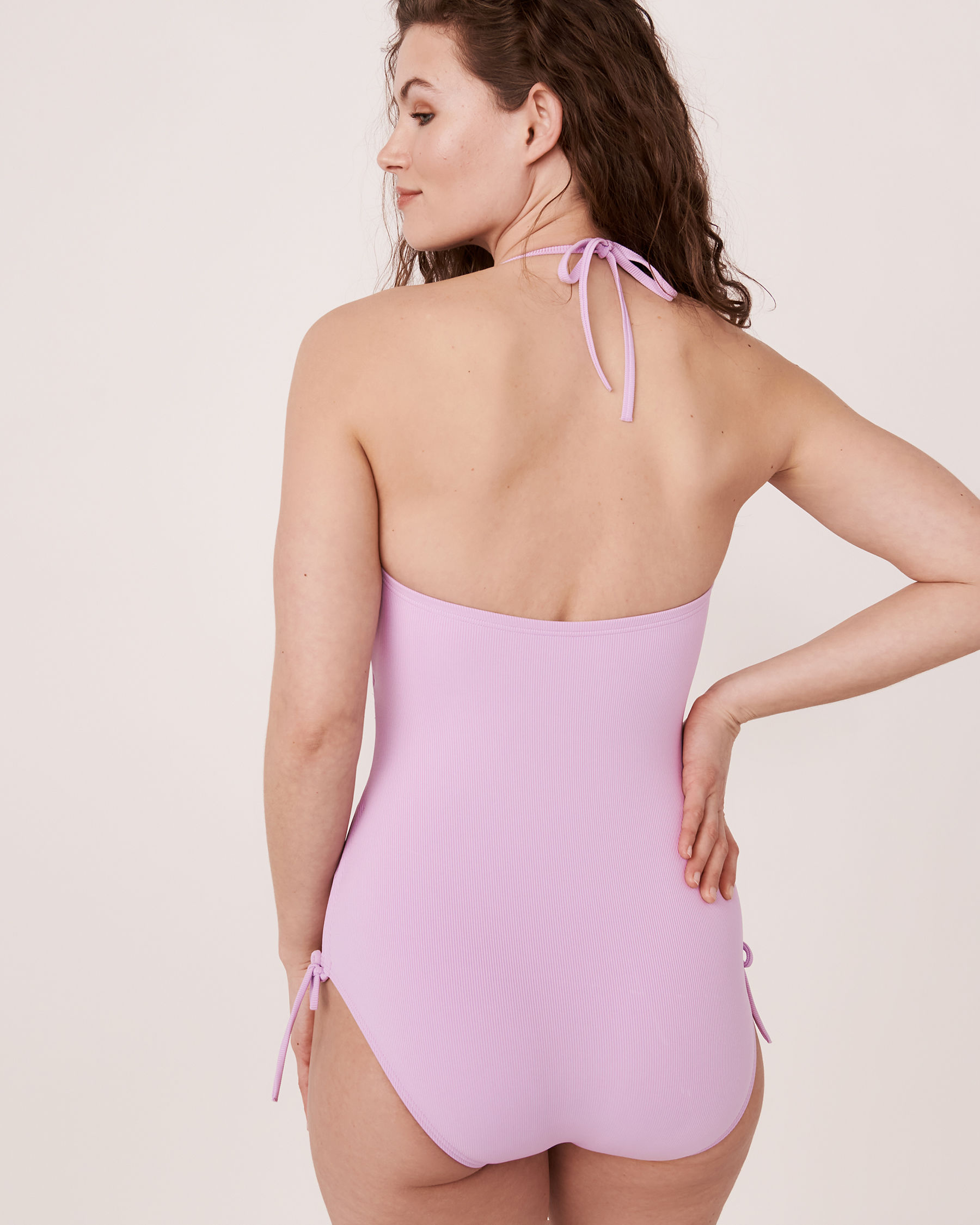 AQUAROSE SOLID RIB Recycled Fibers Bandeau One-piece Swimsuit Lilac 70400007 - View2